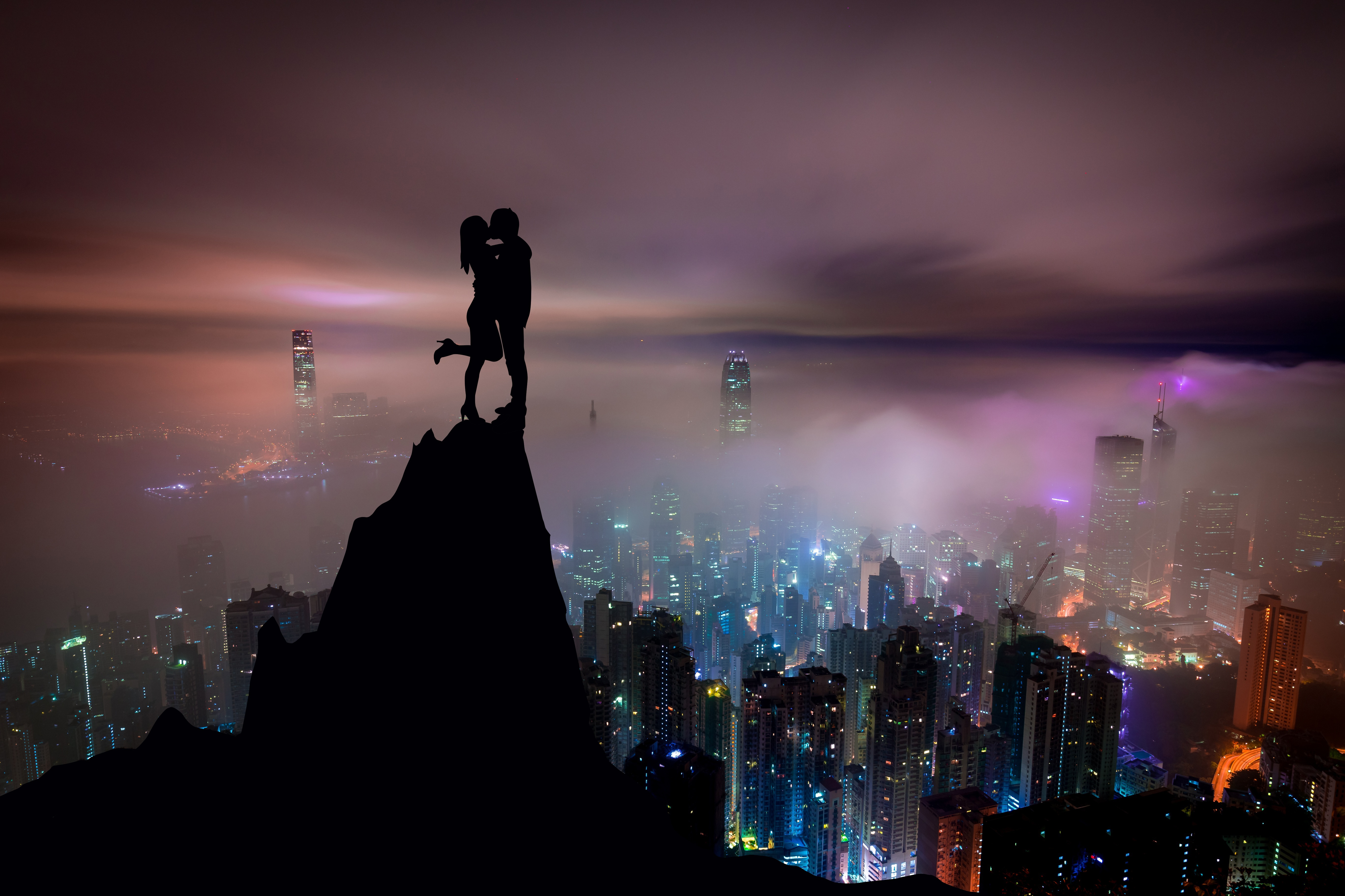 51251 download wallpaper Love, City, Couple, Pair, Silhouettes, Skyscrapers, Hill, Kiss screensavers and pictures for free