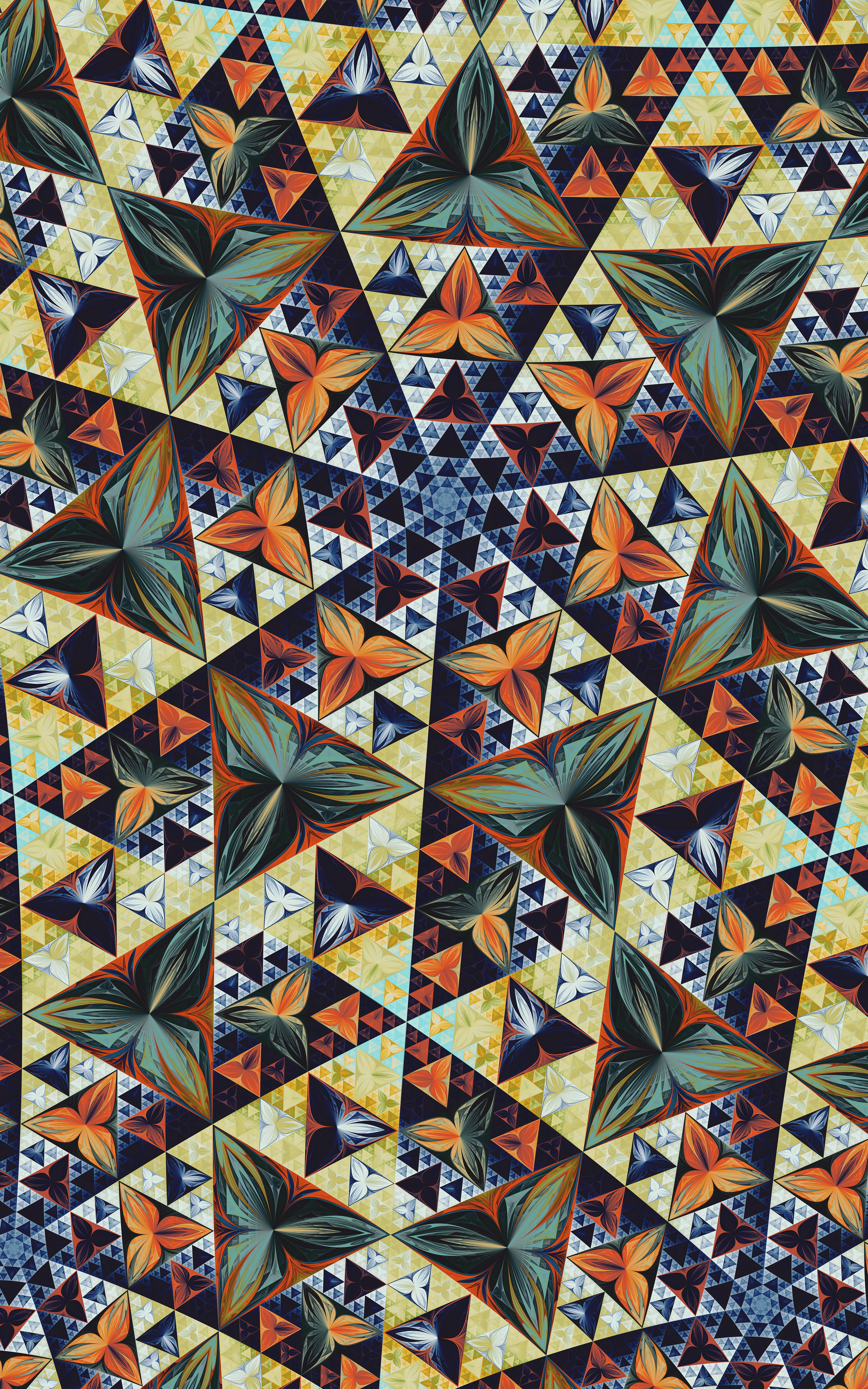 68740 download wallpaper Textures, Texture, Fractal, Kaleidoscope, Triangles, Pattern, Symmetry screensavers and pictures for free