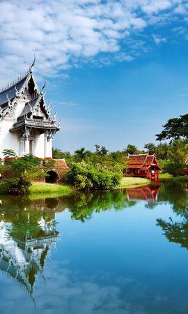 12088 скачать обои Пейзаж, Вода, Дома, Архитектура, Азия, Озера - заставки и картинки бесплатно