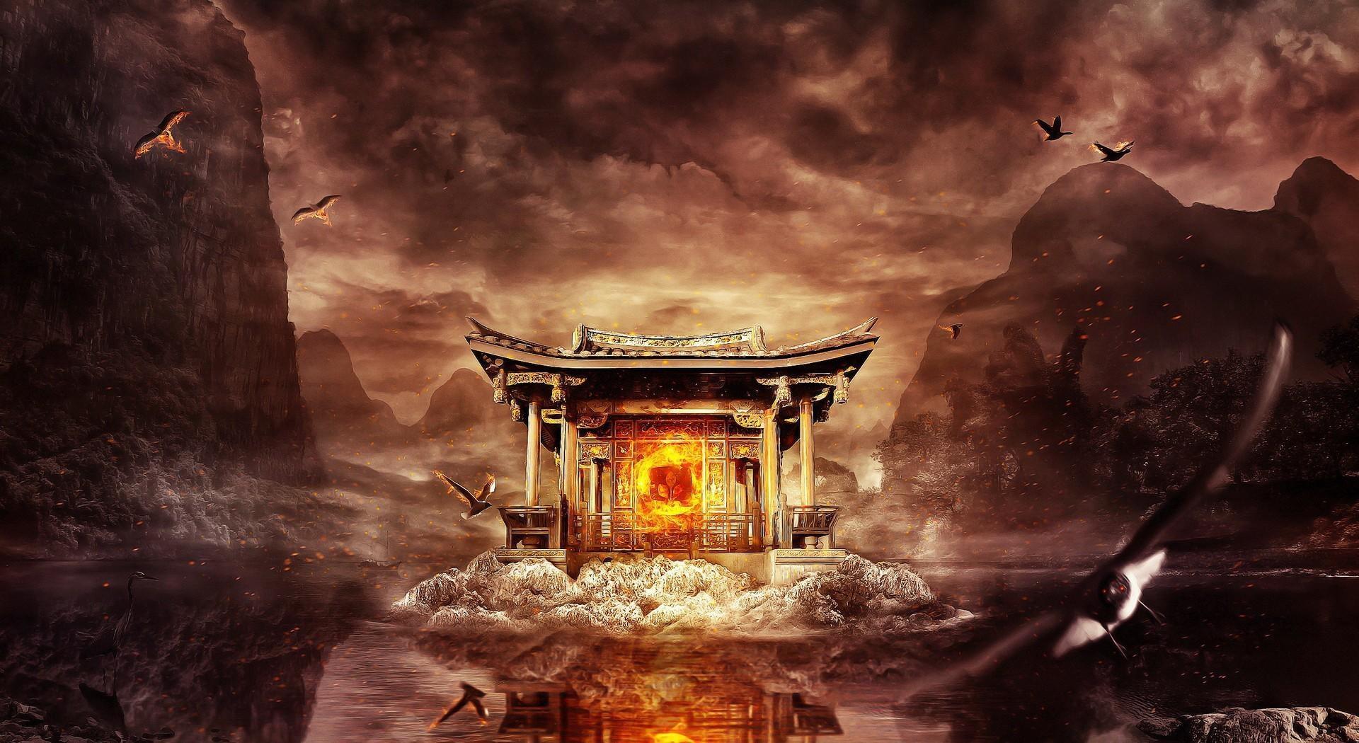 55647 免費下載壁紙 幻想, 寺庙, 神殿, 火, 航班, 飞行, 水, 山, 鸟类 屏保和圖片