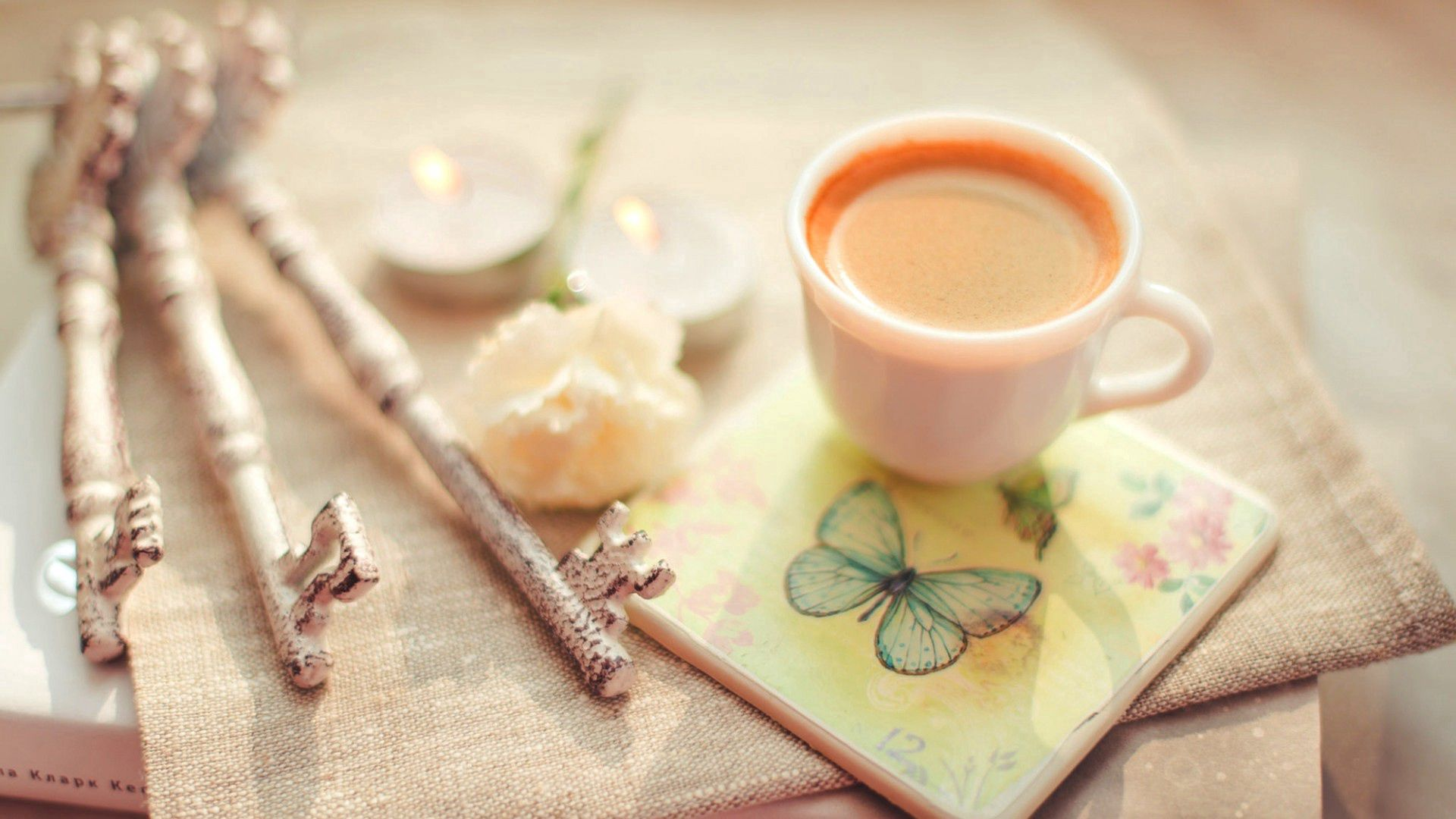 155280 Screensavers and Wallpapers Cup for phone. Download Food, Coffee, Cup, Butterfly, Tenderness, Keys pictures for free