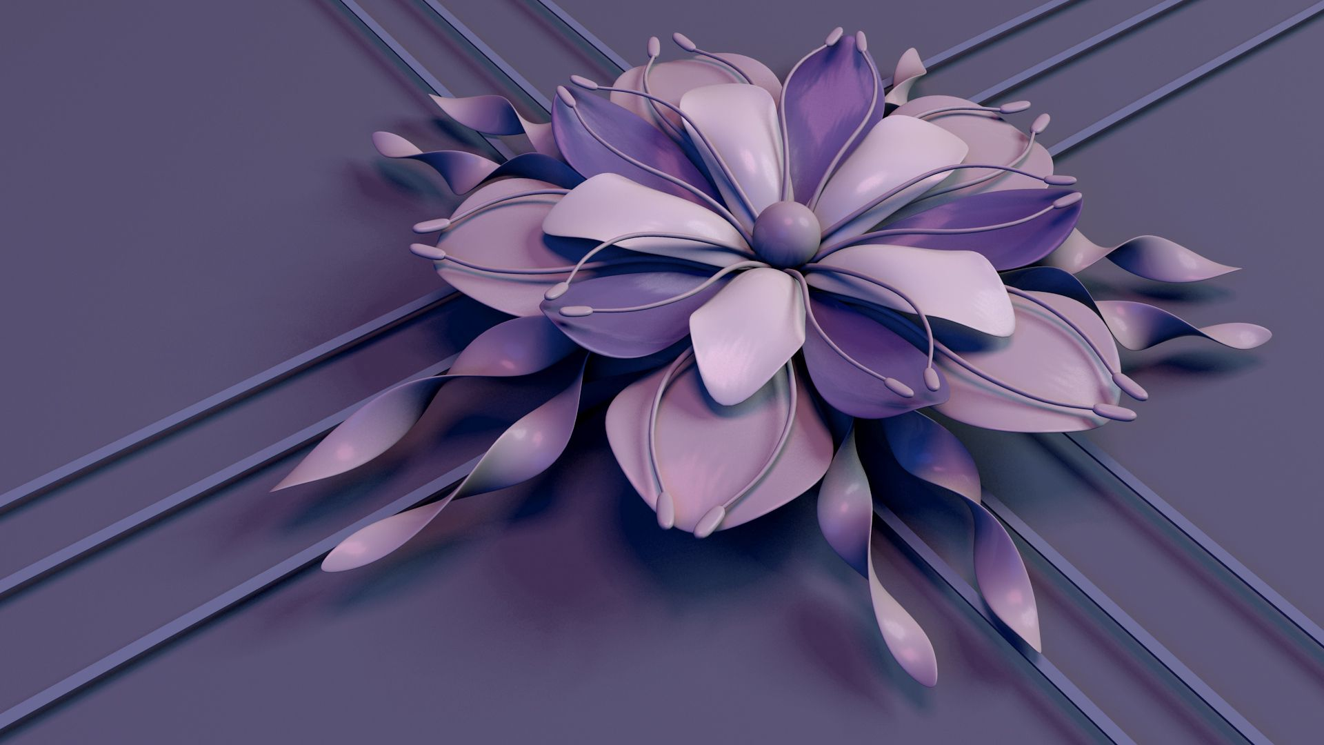 122076 Screensavers and Wallpapers Stripes for phone. Download 3D, Lilac, Flower, Petals, Lines, Stripes, Streaks, Stamens, Rendering pictures for free