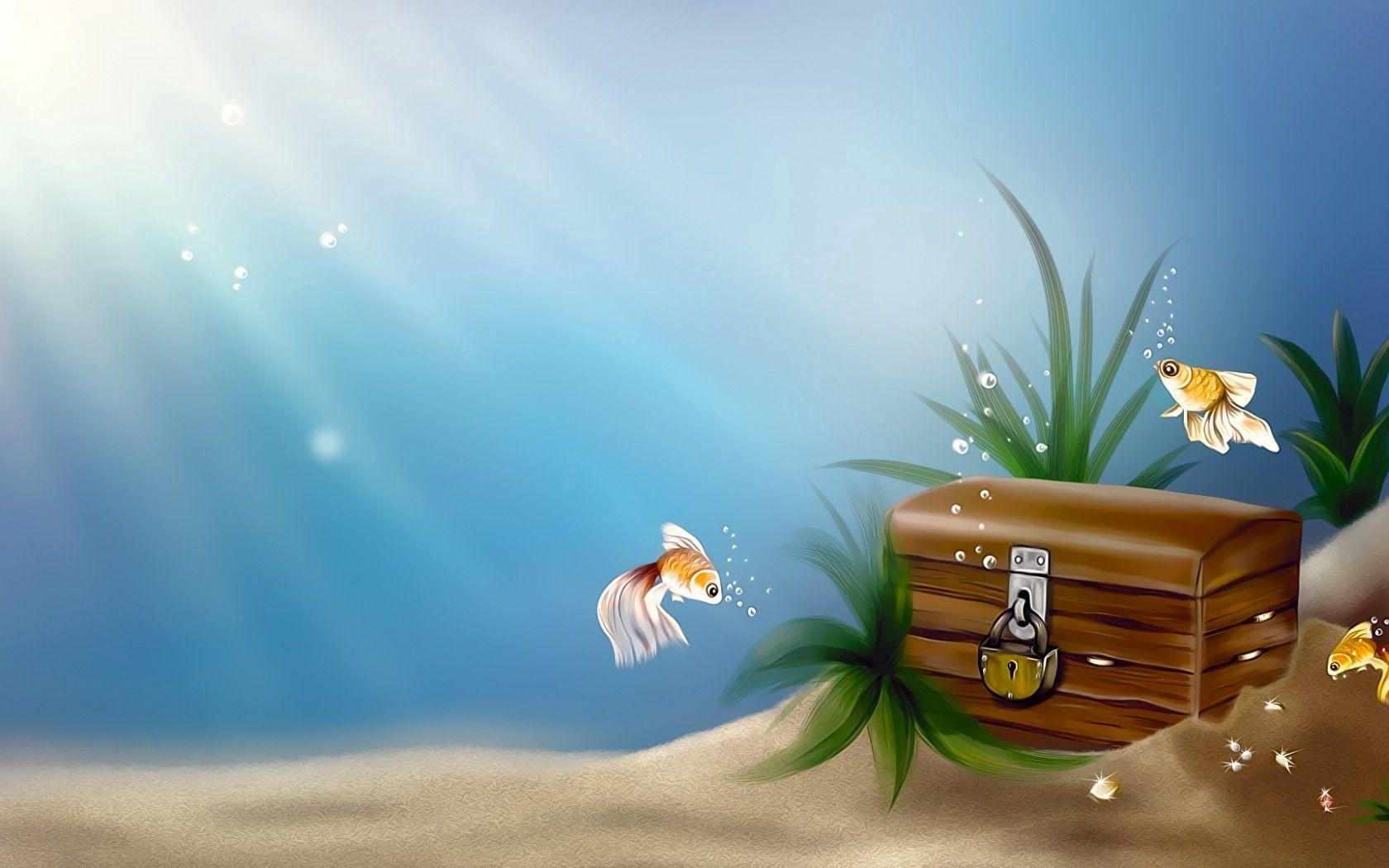 145943 Заставки и Обои Рыбы на телефон. Скачать Рыбы, Арт, Море, Замок, Пузырьки, Под Водой, Золотые, Сундук, Рыбки, Клад картинки бесплатно