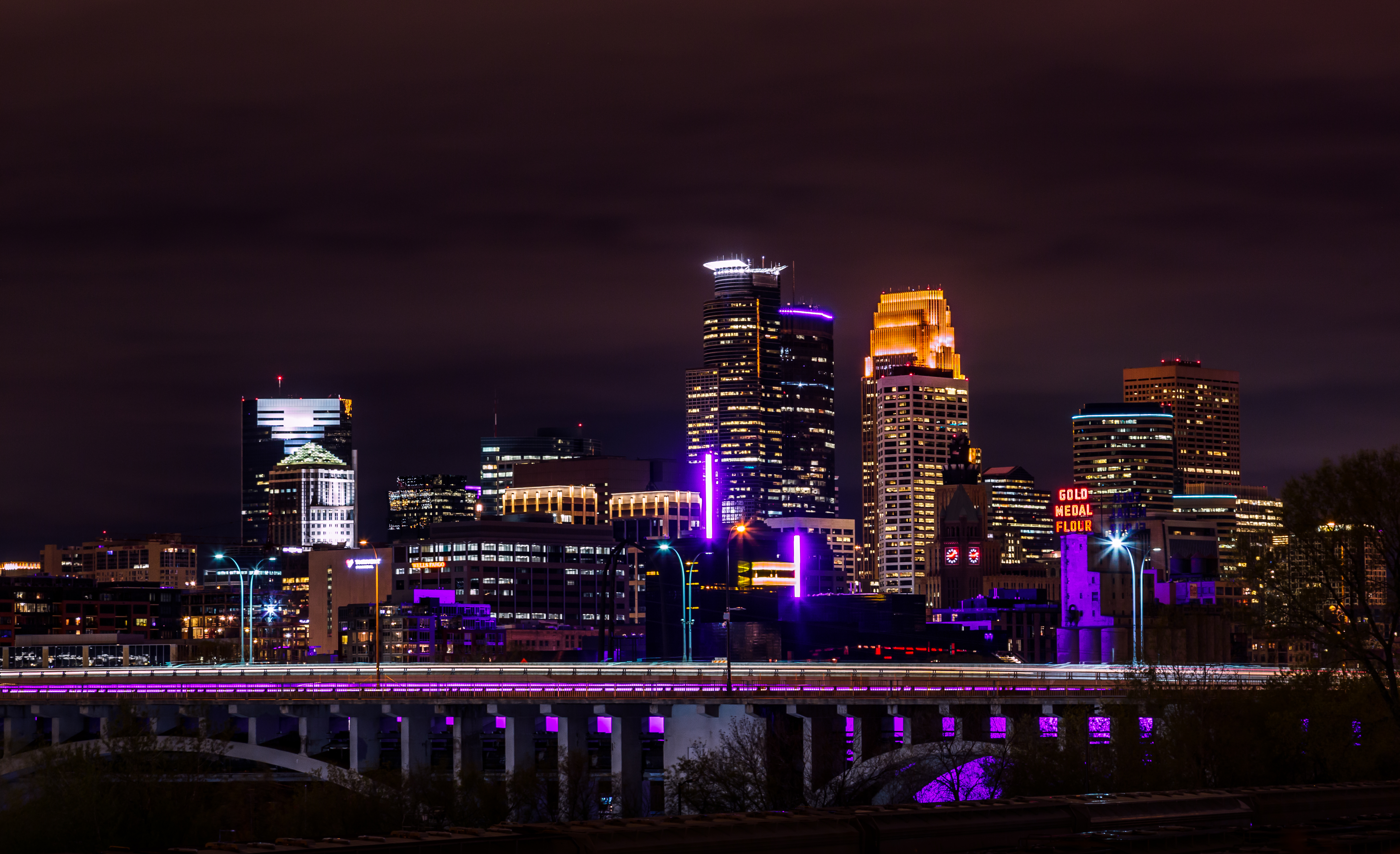 126664 Screensavers and Wallpapers Night City for phone. Download Architecture, Cities, Night City, City Lights, Panorama, Minnesota pictures for free