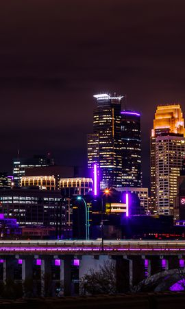 126664 Screensavers and Wallpapers Architecture for phone. Download Night City, Panorama, City Lights, Minnesota, Architecture, Cities pictures for free