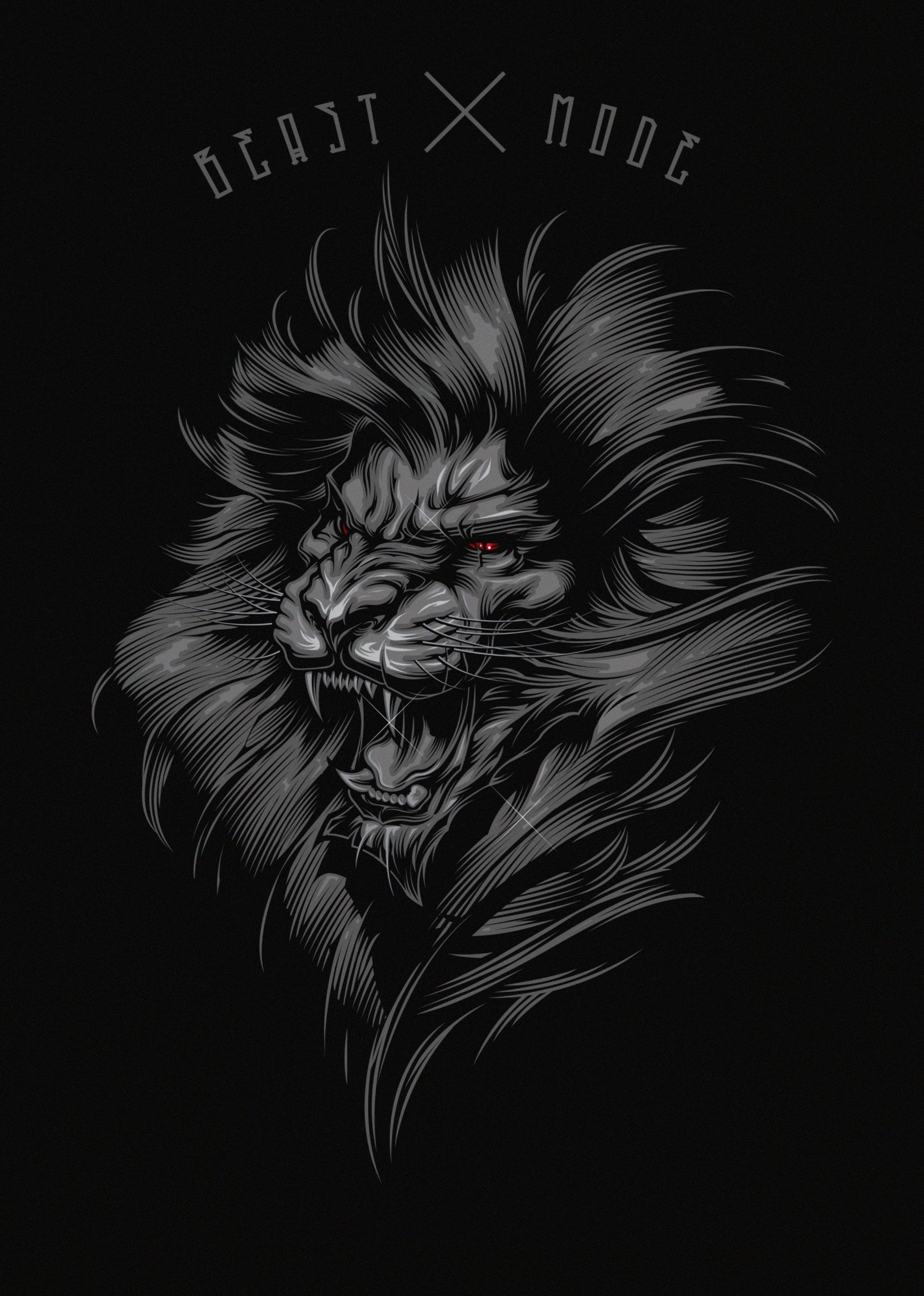 138139 Lade kostenlos Schwarz Hintergrundbilder für dein Handy herunter, Ein Löwe, Kunst, Grinsen, Grin, Das Schwarze, Löwe, Inschrift Schwarz Bilder und Bildschirmschoner für dein Handy