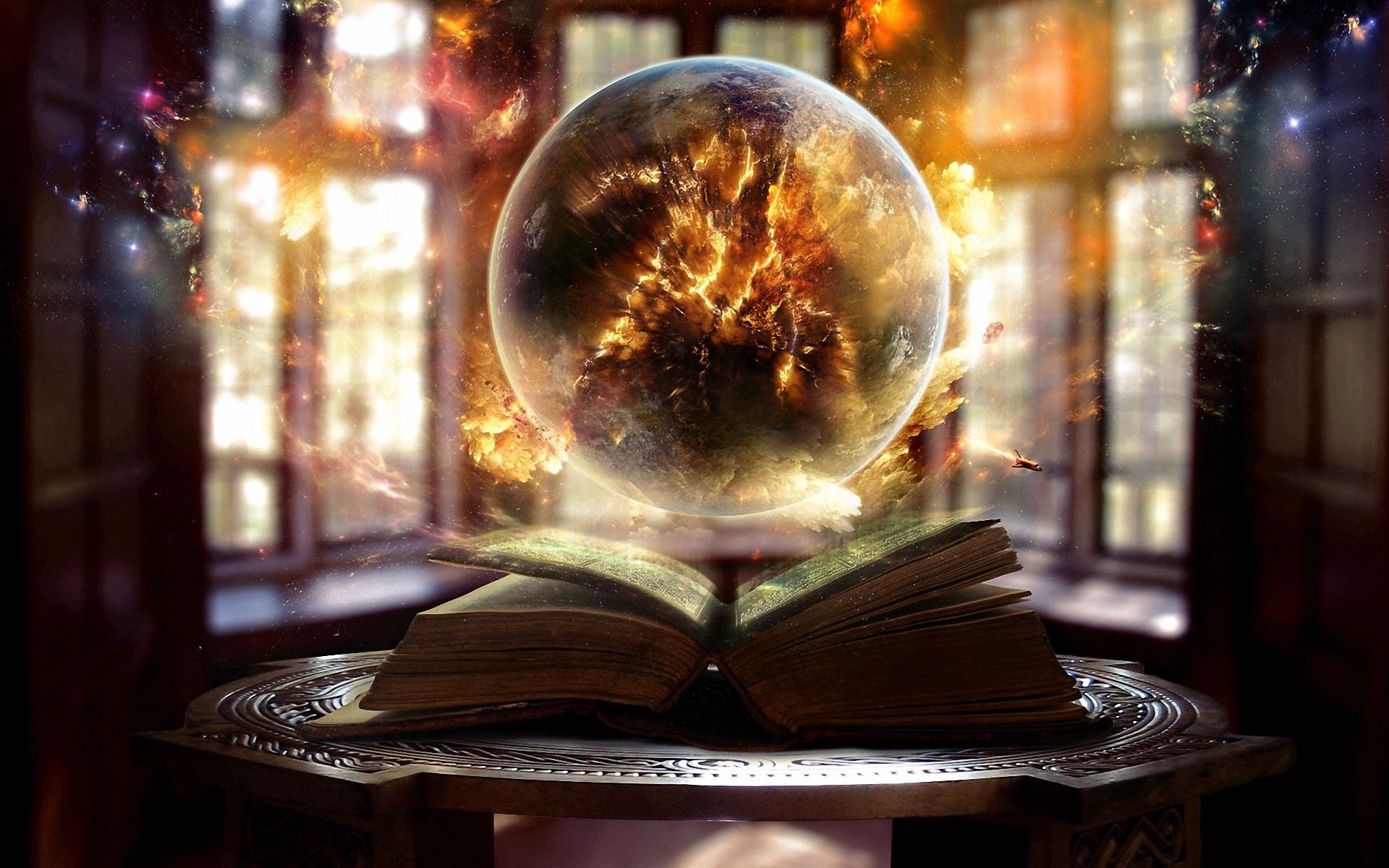 56272 download wallpaper Fantasy, Book, Ball, Magic, Witchcraft, Sorcery screensavers and pictures for free