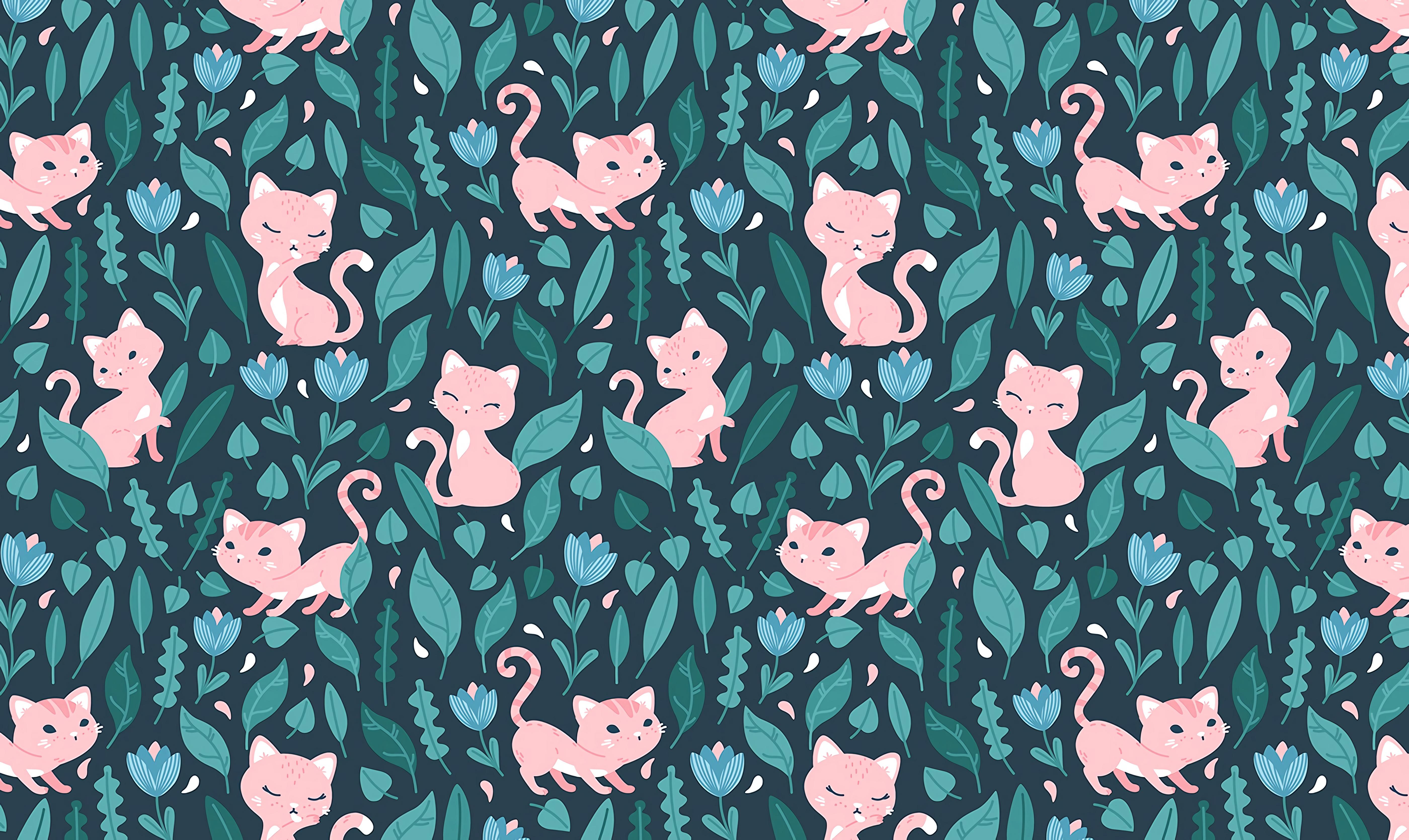 103526 скачать обои Текстуры, Кошка, Милый, Листья, Паттерн, Цветы - заставки и картинки бесплатно