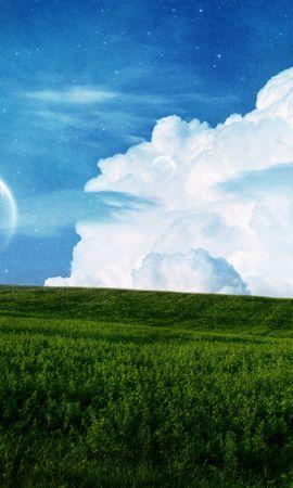 20112 скачать обои Пейзаж, Поля, Небо, Планеты, Облака, Луна - заставки и картинки бесплатно