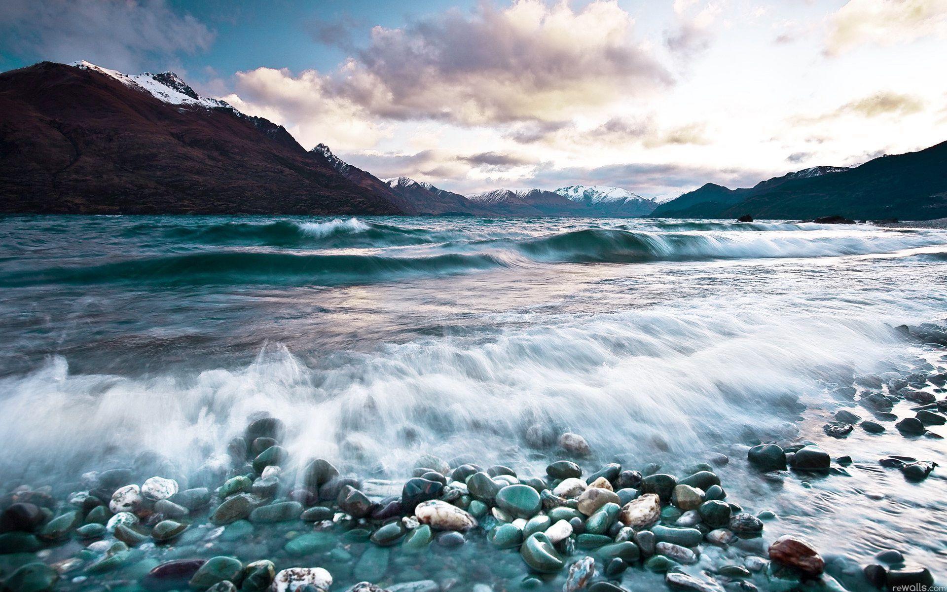 24843 скачать обои Пейзаж, Горы, Море, Облака, Волны - заставки и картинки бесплатно