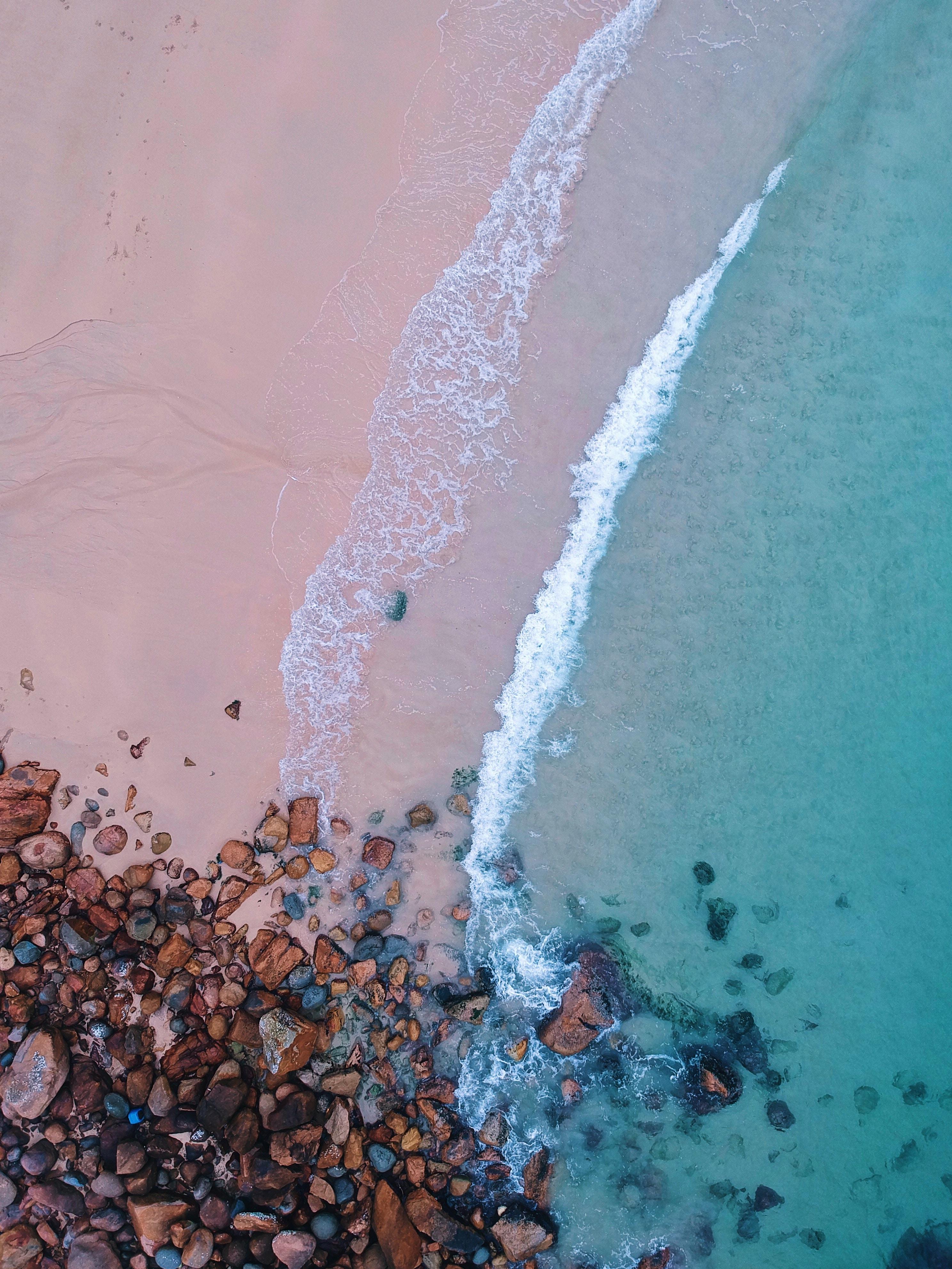99888 Hintergrundbild herunterladen Strand, Natur, Stones, Surfen, Sand, Blick Von Oben, Ozean, Schaum - Bildschirmschoner und Bilder kostenlos