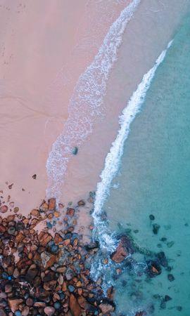 99888壁紙のダウンロード自然, 海洋, 大洋, ビーチ, 上から見る, サンド, ストーンズ, サーフ, フォーム, 泡-スクリーンセーバーと写真を無料で