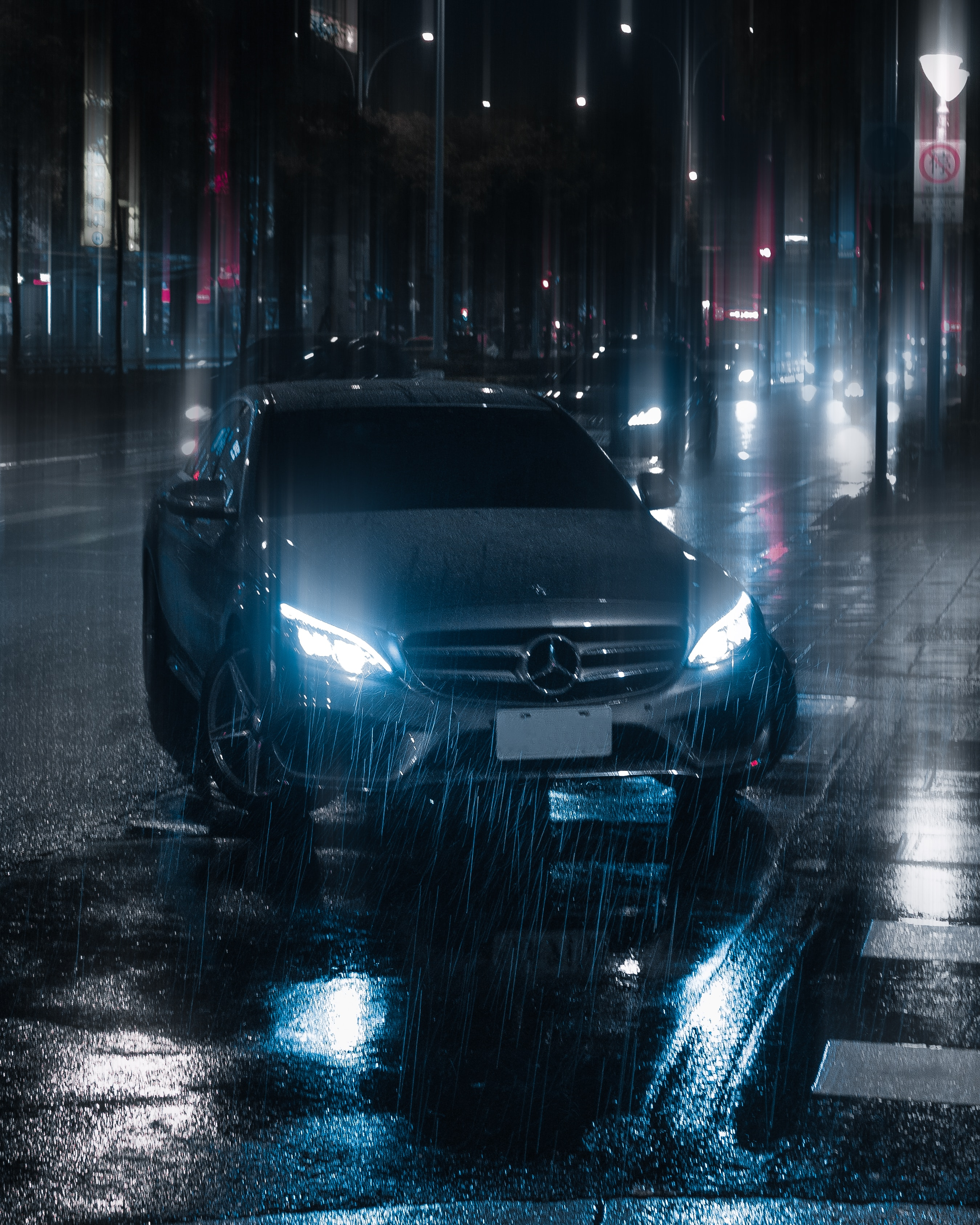 80874 Screensavers and Wallpapers Light for phone. Download Cars, Car, Machine, Night, Rain, Shine, Light, Street pictures for free