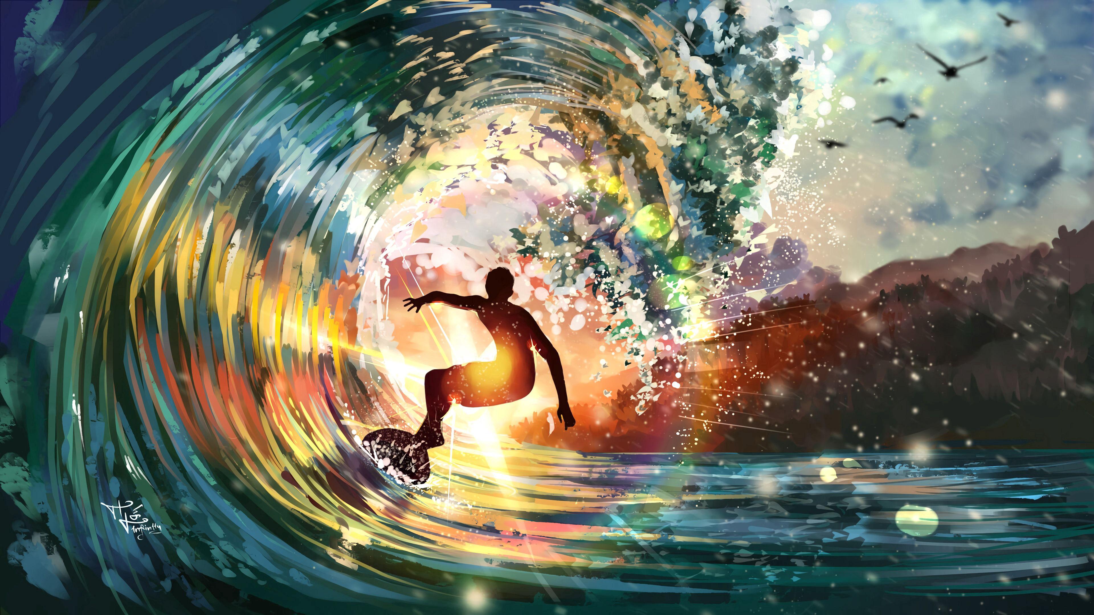 91407 免費下載壁紙 冲浪者, 海浪, 波浪, 明亮的, 明亮, 艺术, 太阳 屏保和圖片