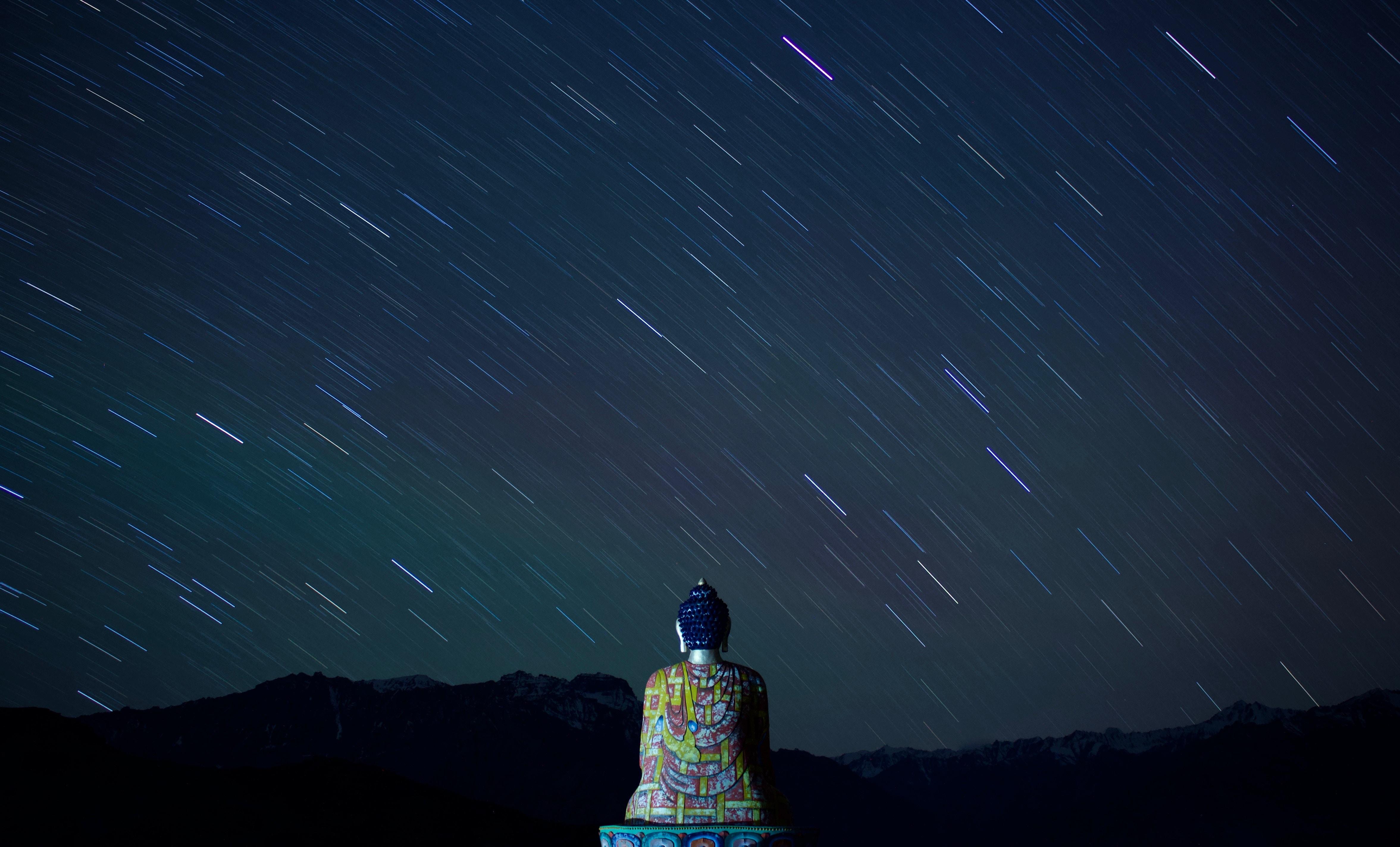 50577 скачать обои Разное, Будда, Статуя, Буддизм, Звездное Небо, Ночь - заставки и картинки бесплатно