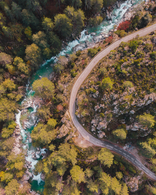157188 免費下載壁紙 性质, 路, 河, 从上面看, 顶视图, 树 屏保和圖片
