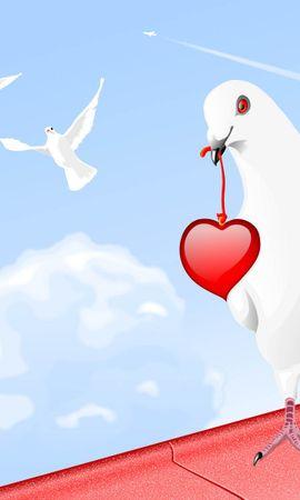 21984 télécharger le fond d'écran Oiseaux, Sky, Cœurs, Pigeons, Dessins - économiseurs d'écran et images gratuitement