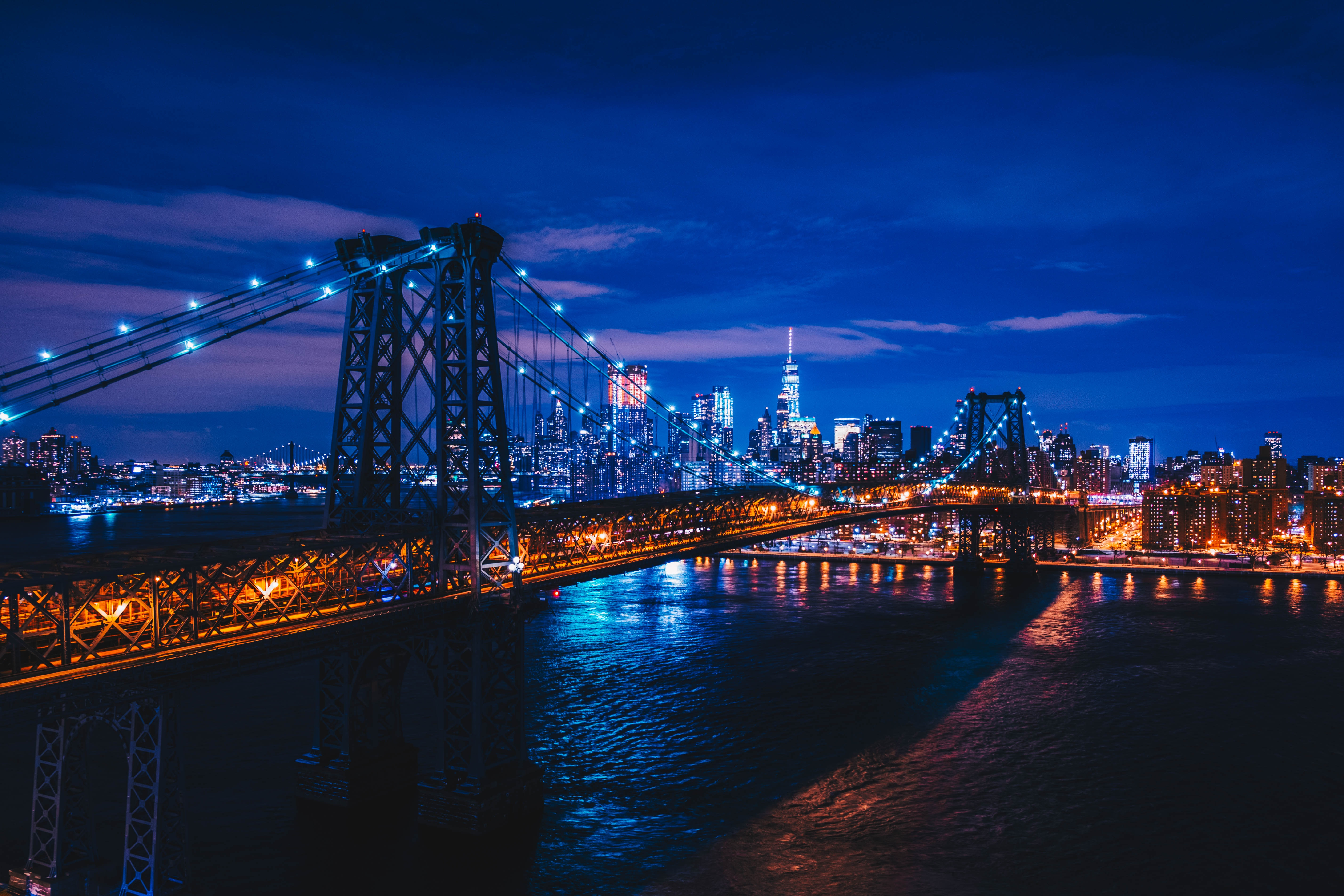 131460 descargar fondo de pantalla Ciudades, Ciudad De Noche, Ciudad Nocturna, Puente, Ee.uu, Estados Unidos, Nueva York: protectores de pantalla e imágenes gratis