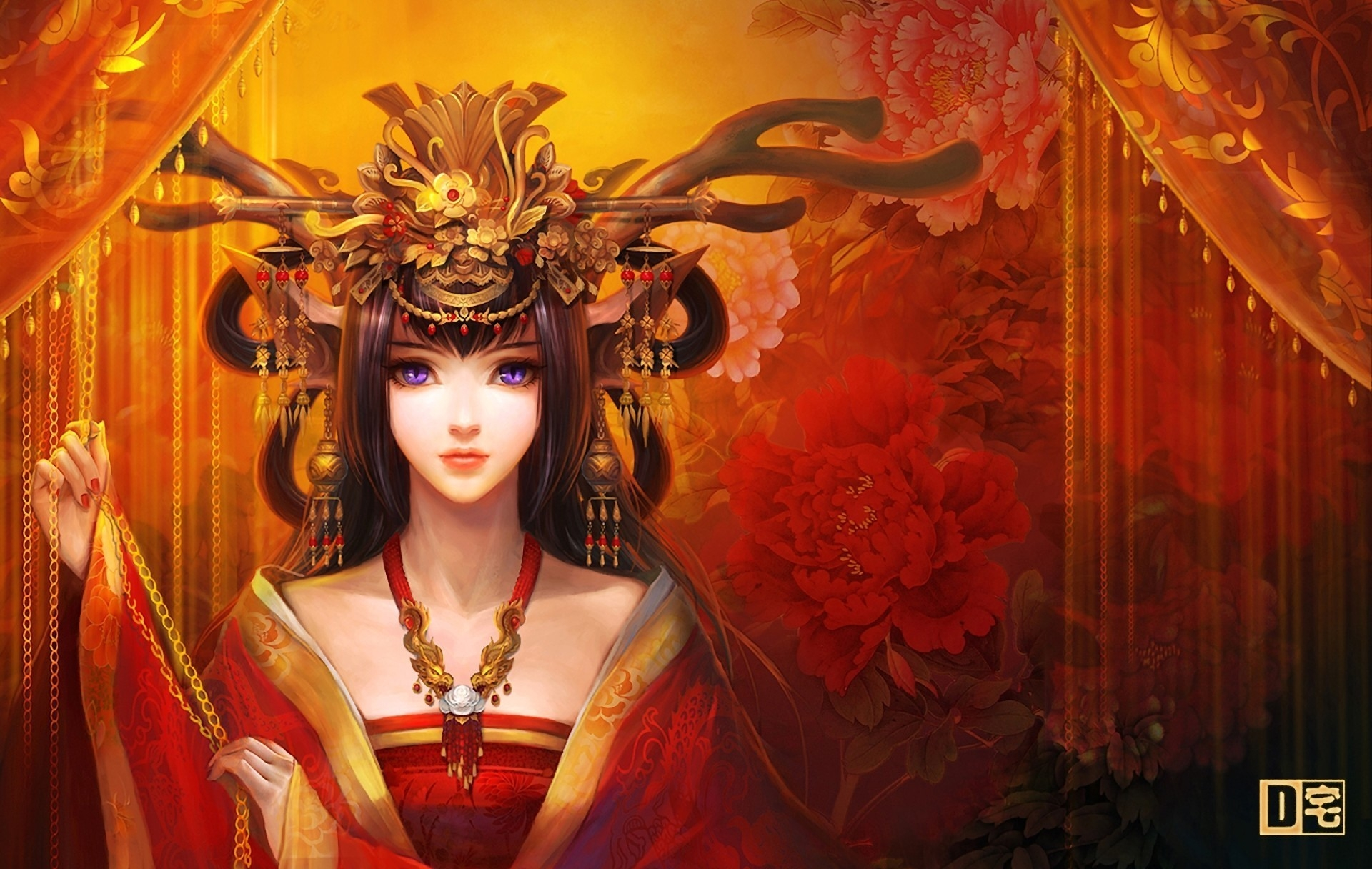 128451 download wallpaper Fantasy, Decorations, Eyes, Girl, Curtains, Kimono, Hairstyle, Hairdo screensavers and pictures for free