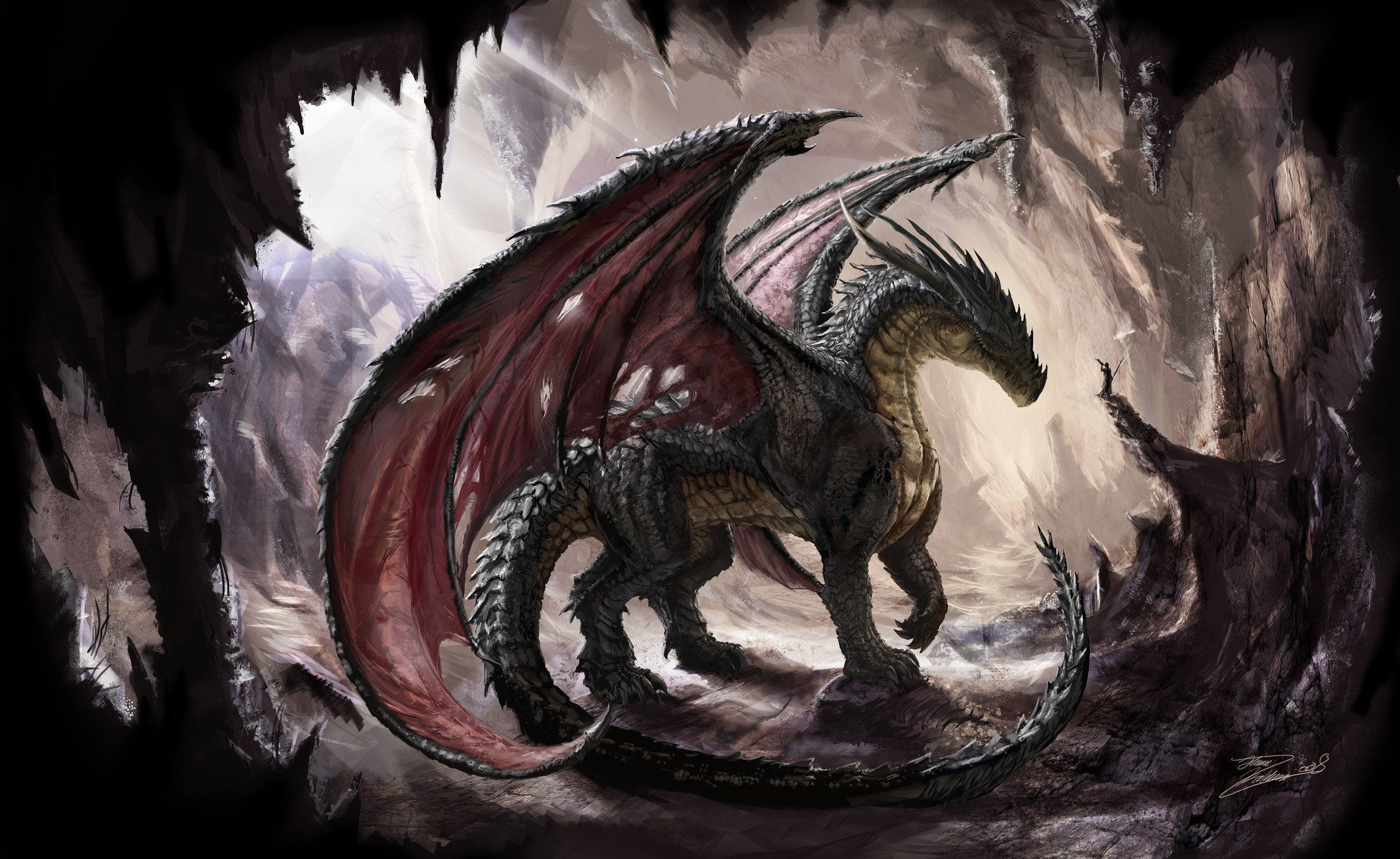 106433 download wallpaper Fantasy, Dragon, Cave, Shine, Light, Art screensavers and pictures for free