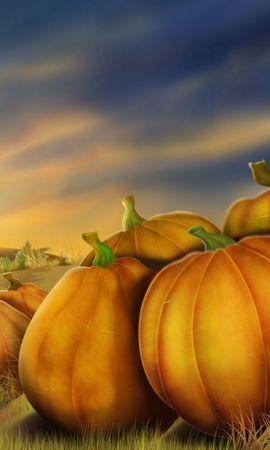 26418 скачать обои Фон, Овощи, Рисунки, Тыквы - заставки и картинки бесплатно