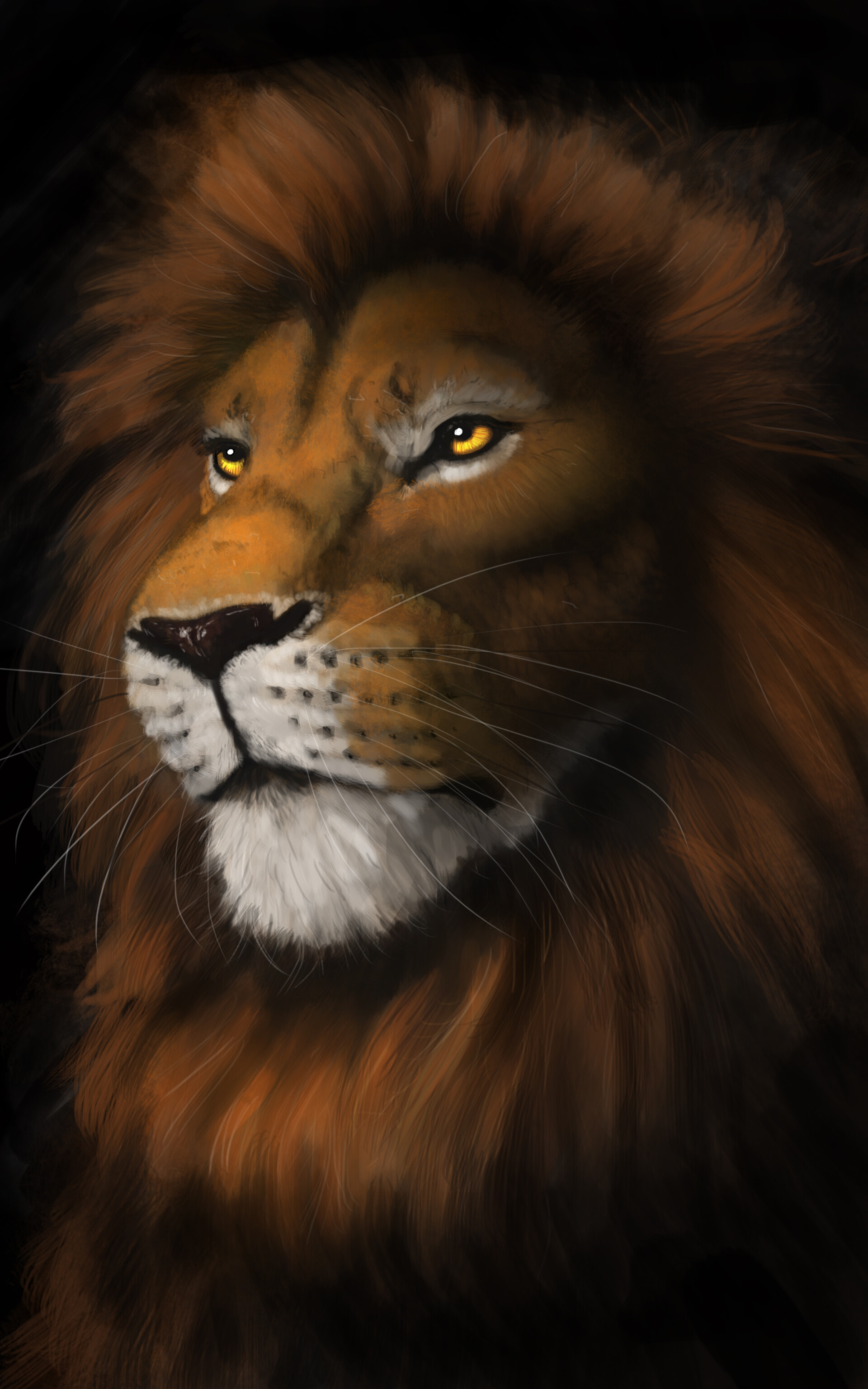 82379 download wallpaper Lion, Muzzle, Predator, Sight, Opinion, Art screensavers and pictures for free