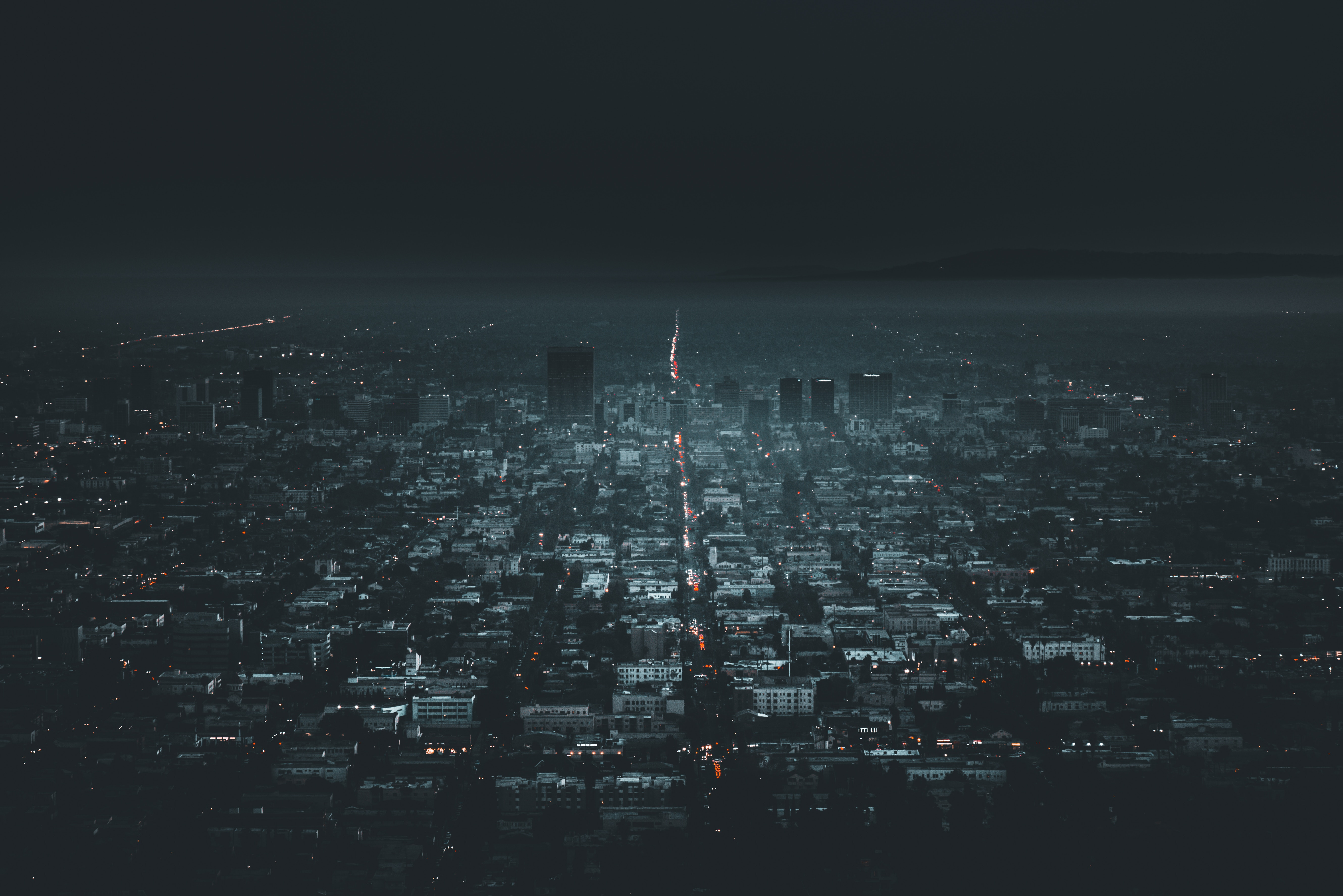 149456 Screensavers and Wallpapers Night City for phone. Download Cities, Usa, View From Above, Night City, City Lights, United States, Los Angeles pictures for free