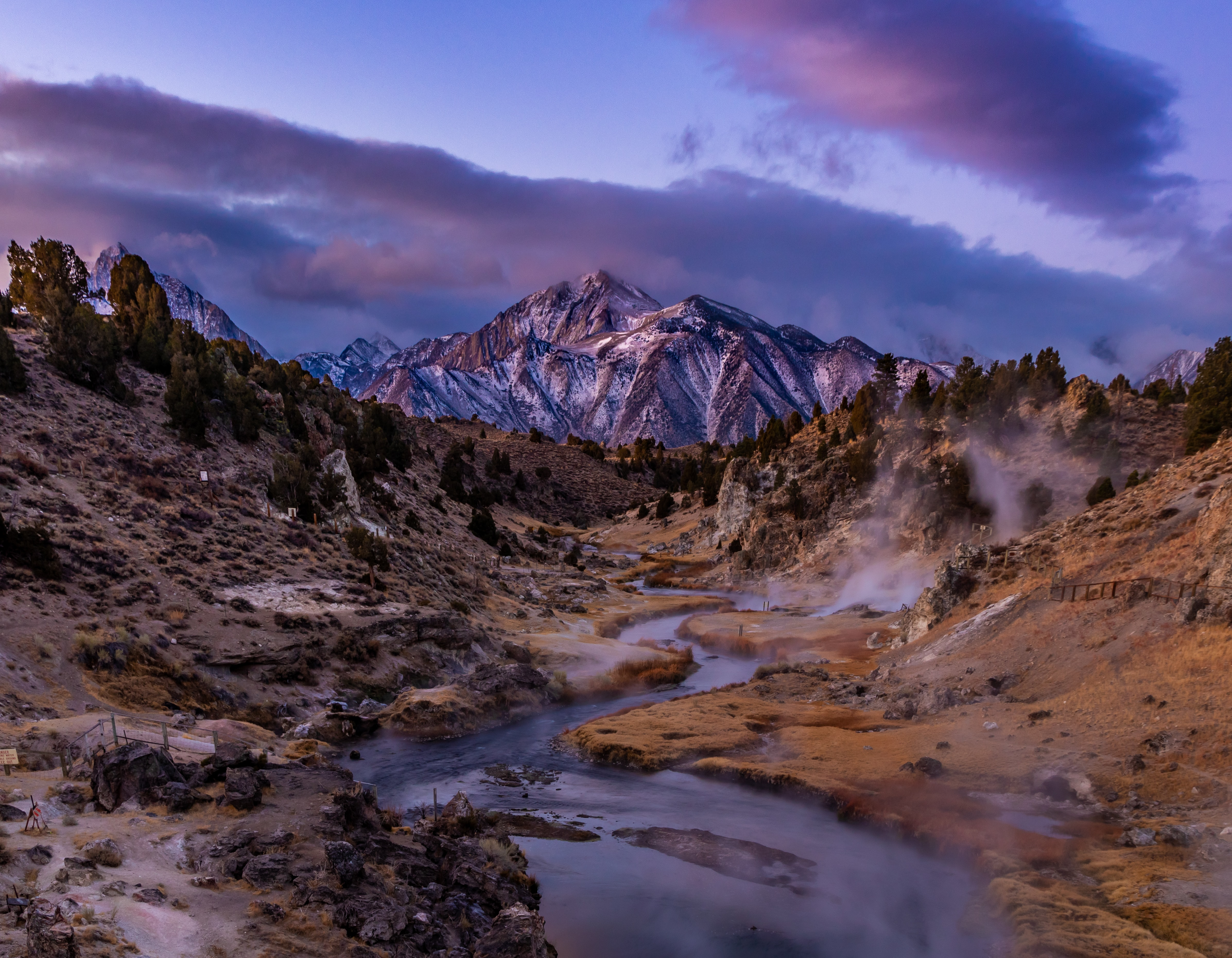 148868 download wallpaper Nature, Mountain, Creek, Brook, Dusk, Twilight, Landscape screensavers and pictures for free