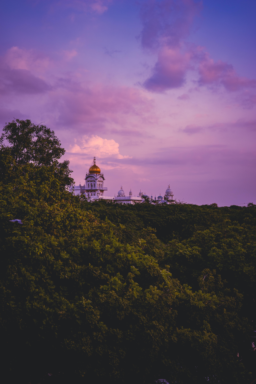 60400 免費下載壁紙 寺庙, 神殿, 树, 日落, 云, 地平线, 城市 屏保和圖片