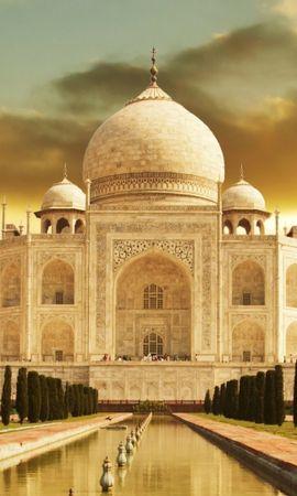 35590 скачать Желтые обои на телефон бесплатно, Пейзаж, Архитектура, Тадж Махал (Taj Mahal) Желтые картинки и заставки на мобильный