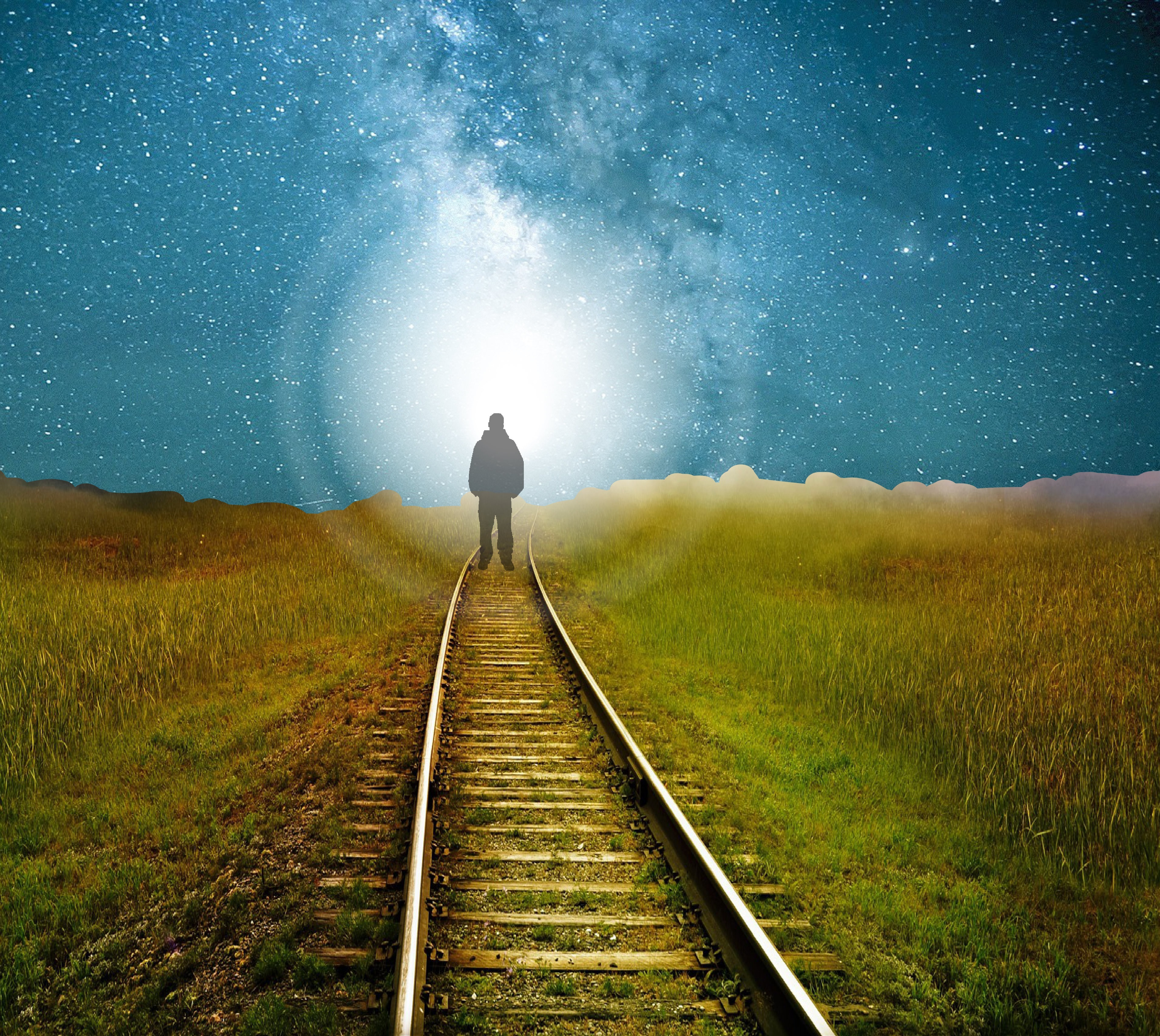 151585 free wallpaper 2160x3840 for phone, download images Art, Shine, Light, Silhouette, Road, Starry Sky, Railway 2160x3840 for mobile