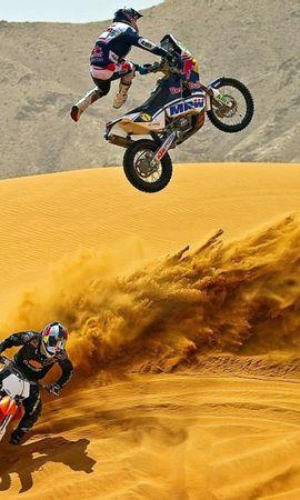 22178 скачать обои Спорт, Транспорт, Люди, Мотоциклы, Пустыня, Мотокросс - заставки и картинки бесплатно