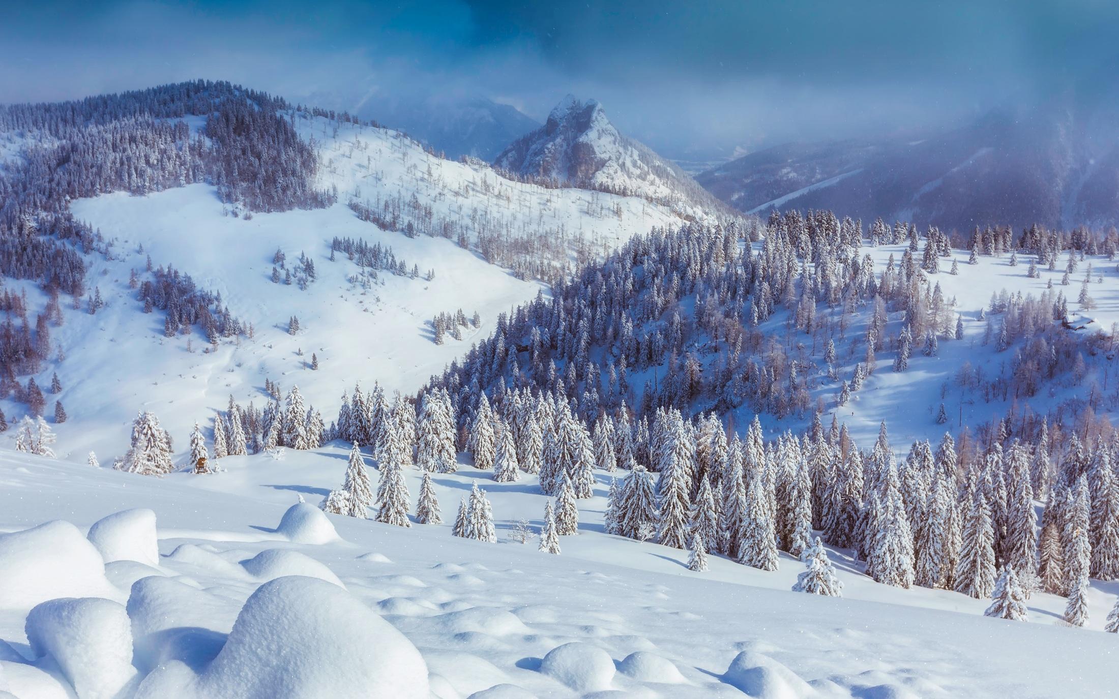 64391 Hintergrundbild herunterladen Schnee, Natur, Mountains, Österreich, Senke, Tal - Bildschirmschoner und Bilder kostenlos