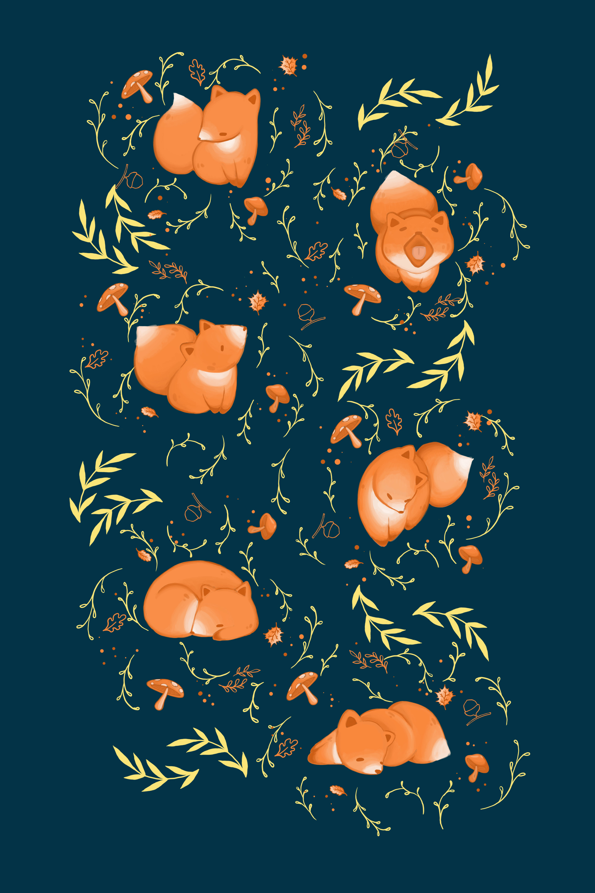 129595 download wallpaper Fox, Art, Leaves, Mashrooms, Acorns, Pattern, Branches screensavers and pictures for free