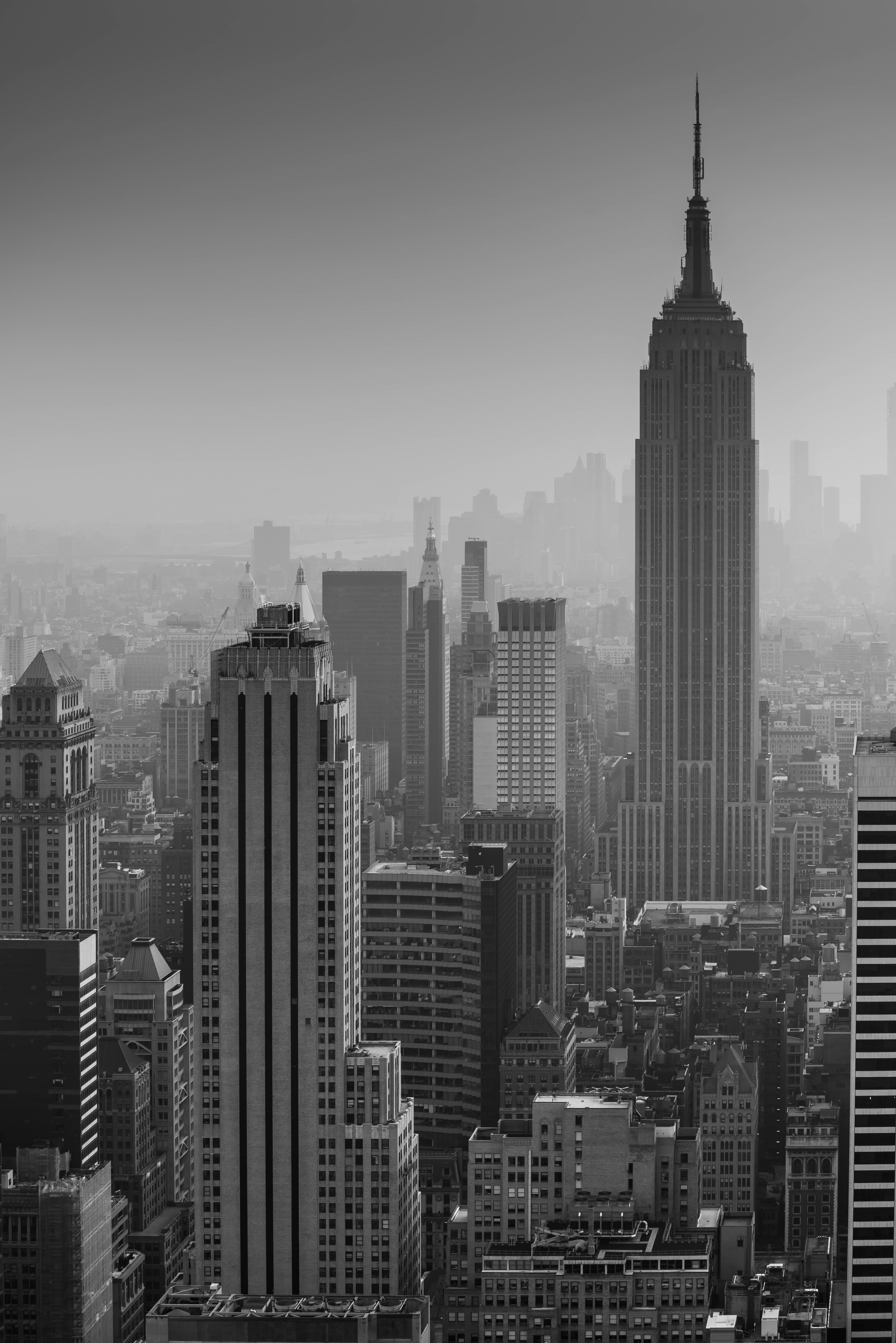 152159 Screensavers and Wallpapers Architecture for phone. Download Building, City, View From Above, Skyscrapers, Bw, Chb, New York, Architecture, Cities pictures for free