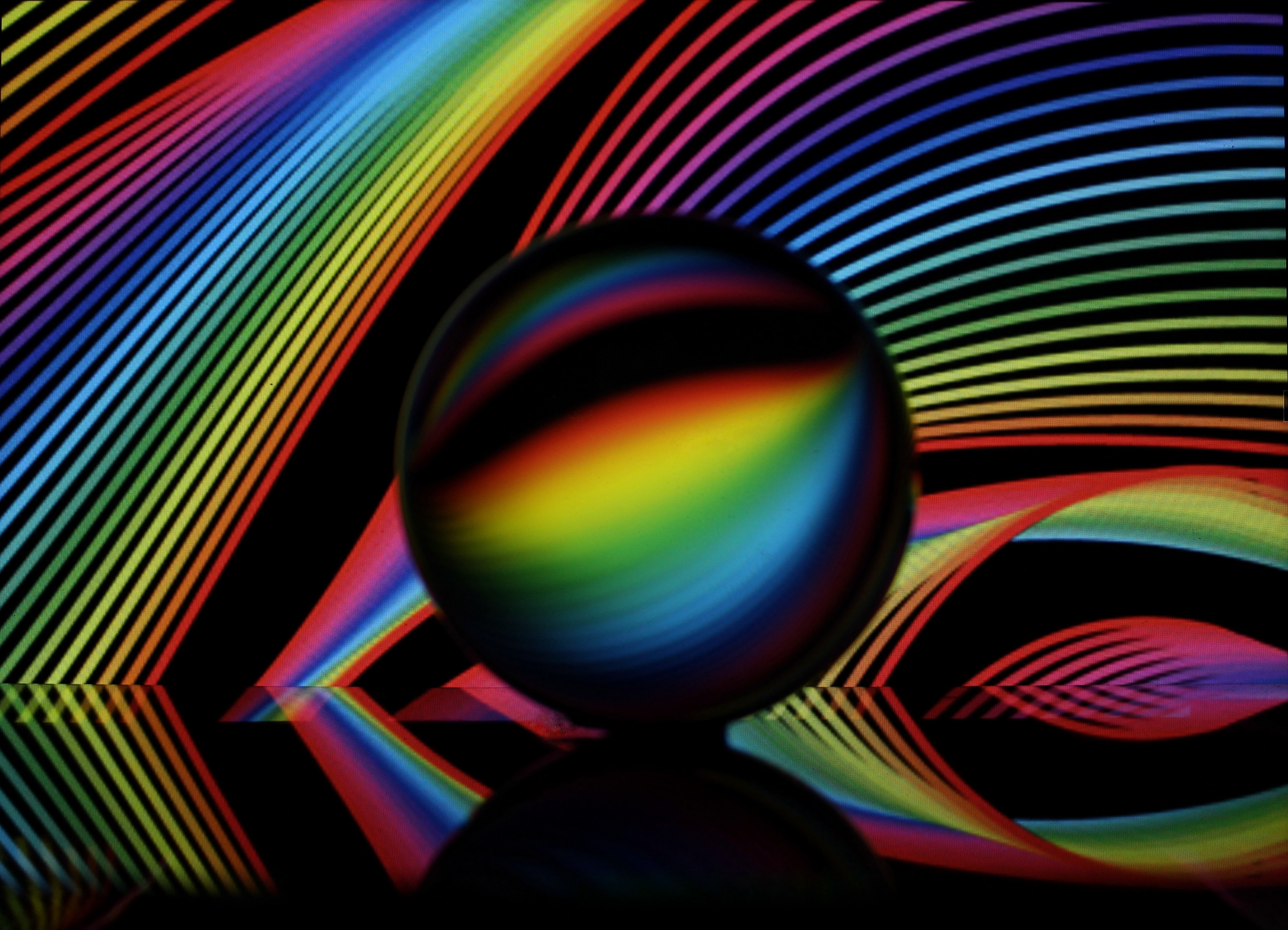 107435 download wallpaper Miscellanea, Miscellaneous, Crystal Ball, Ball, Neon, Lines, Multicolored, Motley screensavers and pictures for free