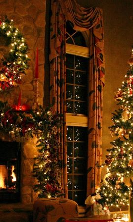 121289 Screensavers and Wallpapers Holidays for phone. Download Holidays, Christmas Tree, Decorations, Fireplace, Christmas Decorations, Christmas Tree Toys, House, Holiday, Coziness, Comfort, Flowers pictures for free