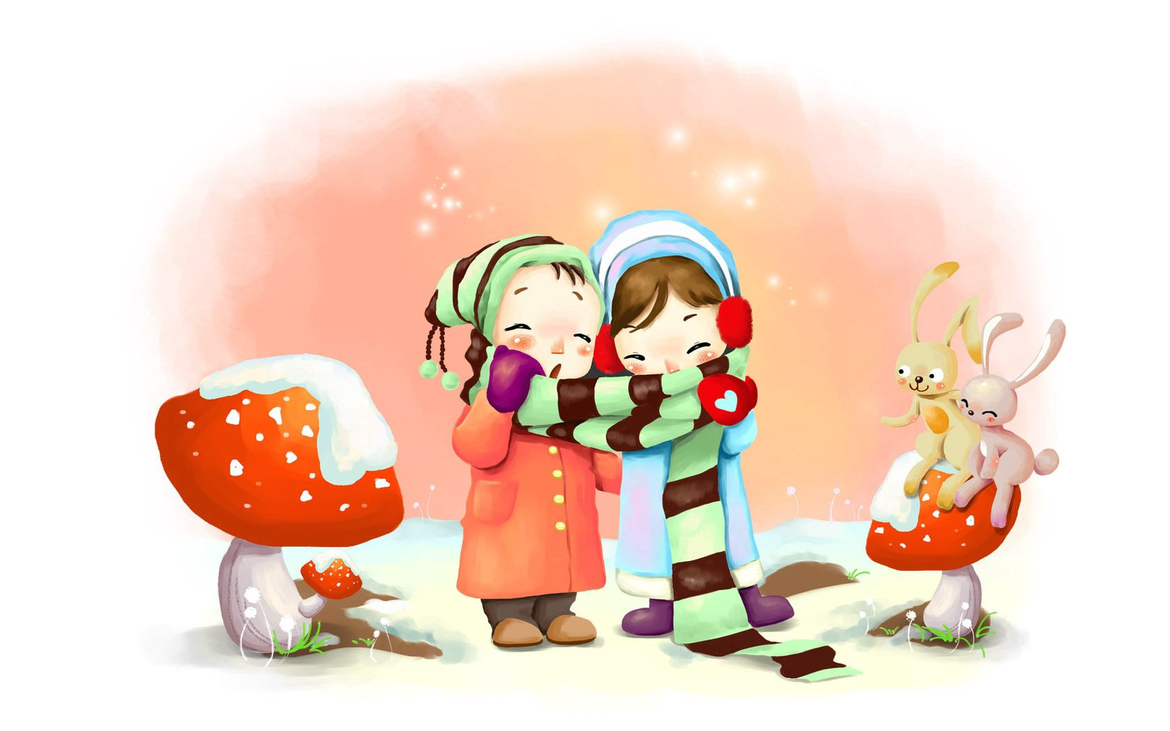 137908 Screensavers and Wallpapers Scarf for phone. Download Winter, Children, Mashrooms, Snowflakes, Miscellanea, Miscellaneous, Picture, Drawing, Breath, Scarf, Hares, Zaychata pictures for free