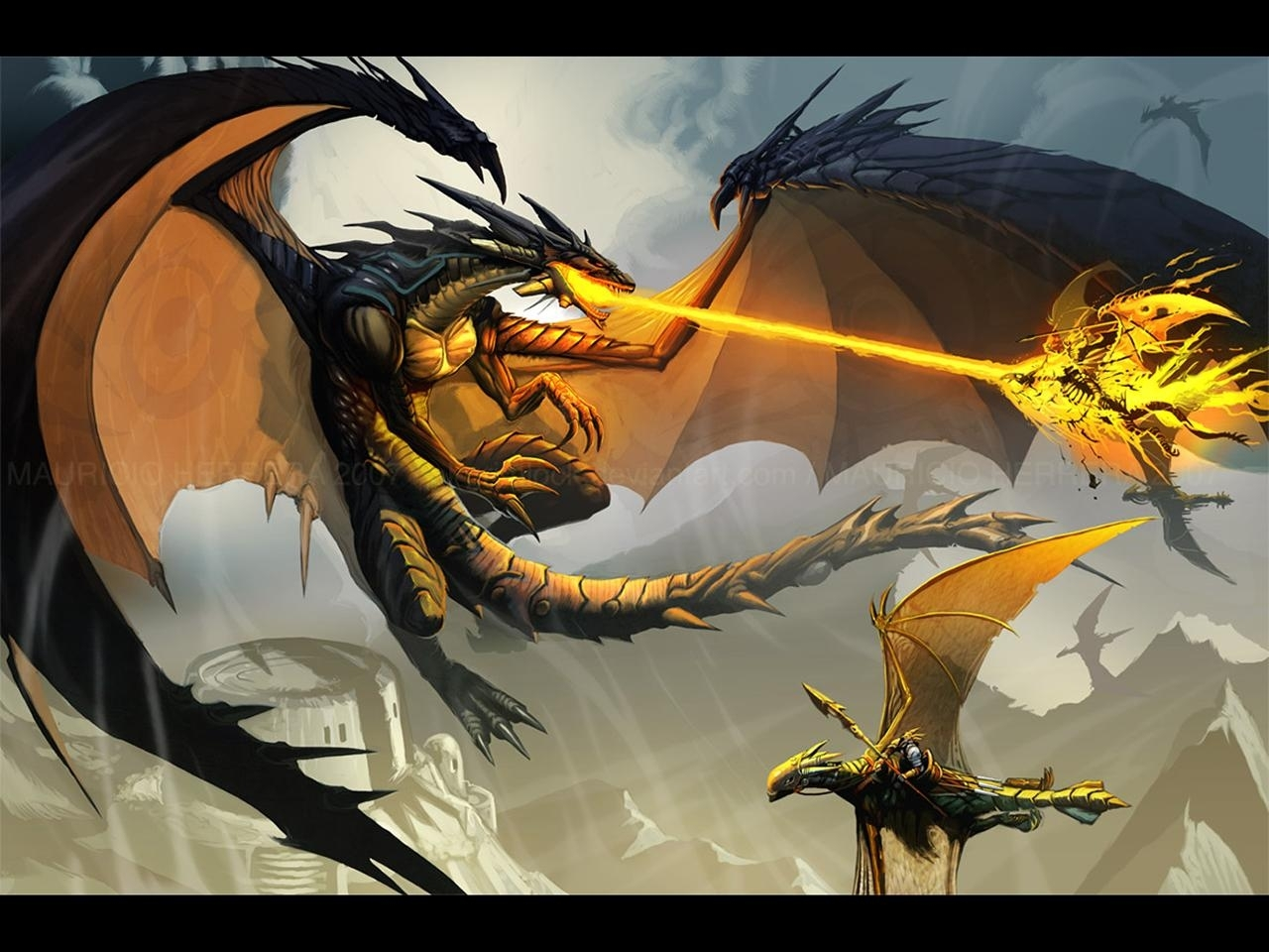 2809 download wallpaper Fantasy, Art, Dragons screensavers and pictures for free