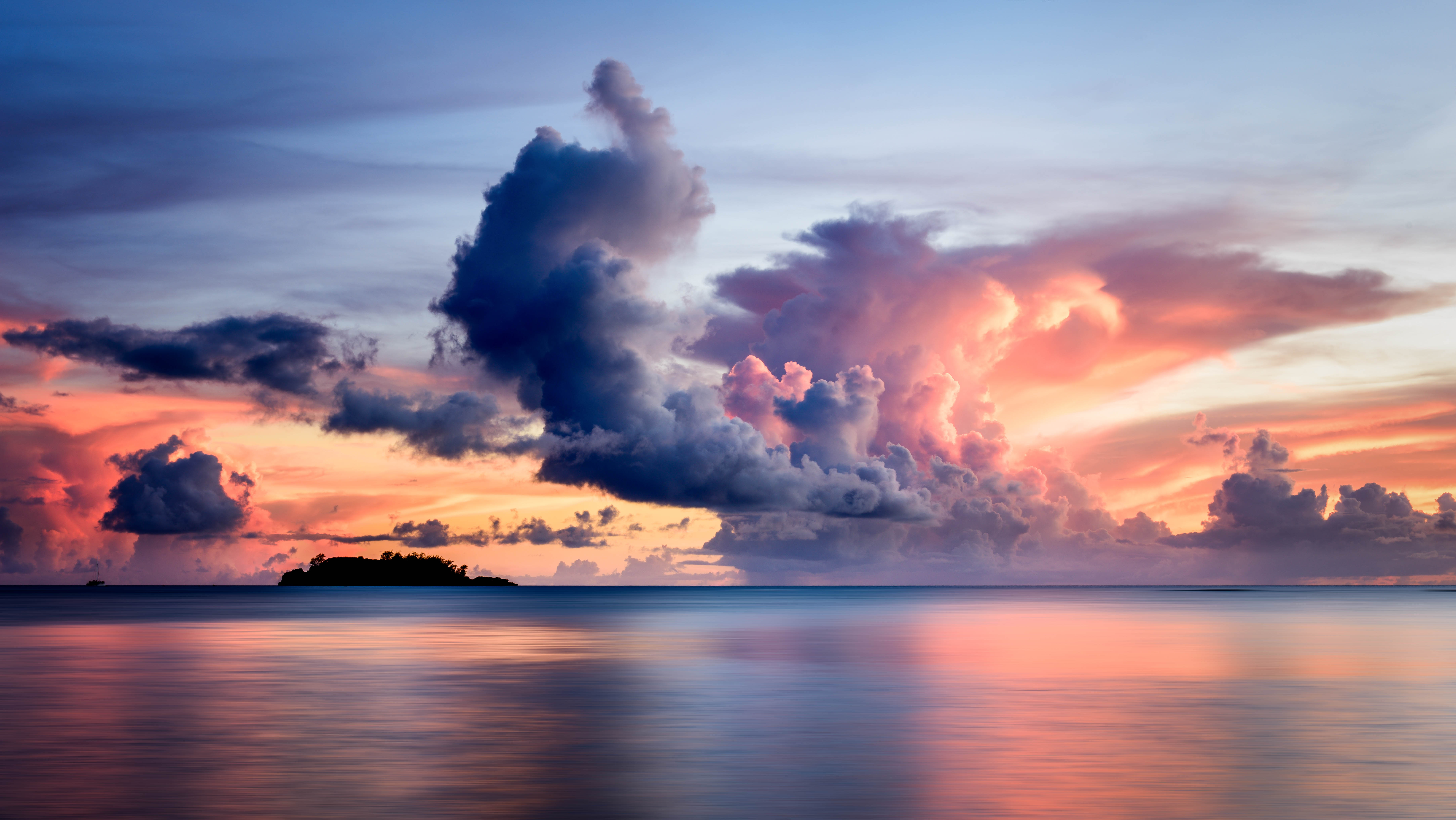 152643 Screensavers and Wallpapers Island for phone. Download Clouds, Nature, Sunset, Sky, Sea, Horizon, Island pictures for free