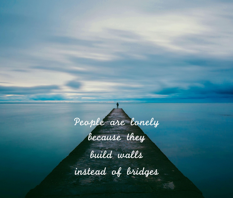 147079 Hintergrundbild herunterladen Die Wörter, Horizont, Wörter, Seebrücke, Pier, Inschrift, Einsamkeit - Bildschirmschoner und Bilder kostenlos