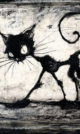 6872 скачать обои Животные, Кошки (Коты, Котики), Рисунки - заставки и картинки бесплатно