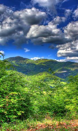 27046 скачать обои Пейзаж, Деревья, Небо, Горы, Облака - заставки и картинки бесплатно