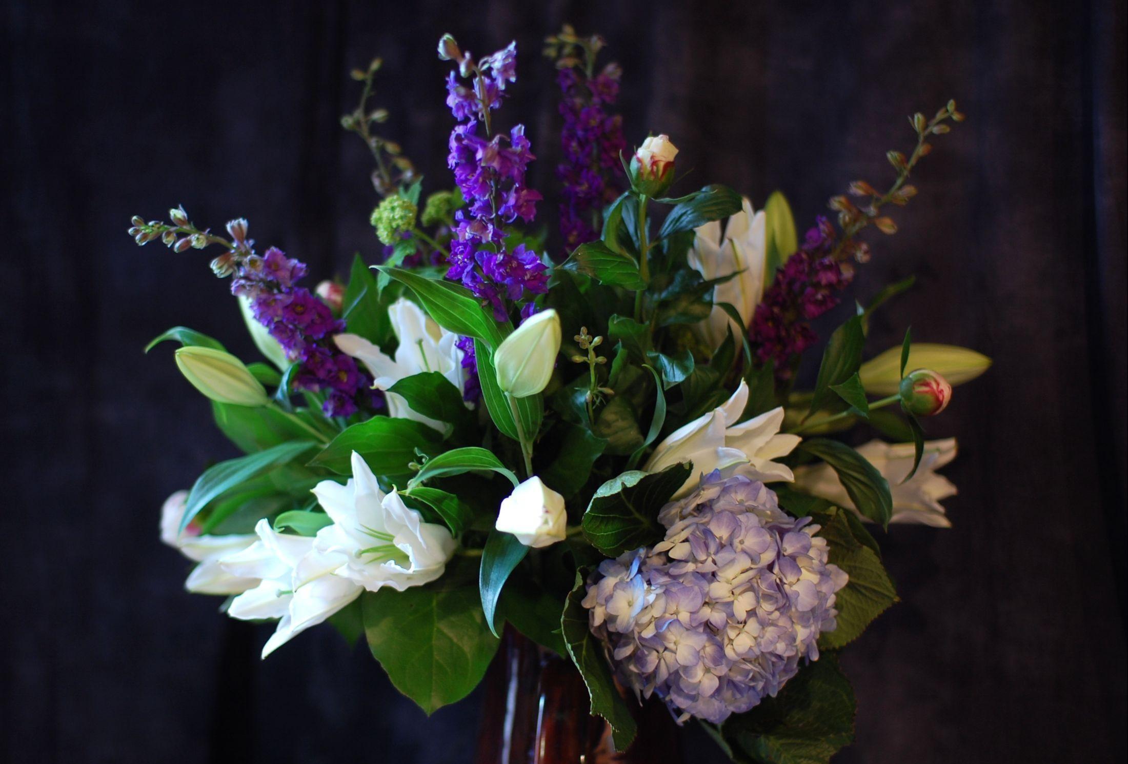 155132 скачать обои Цветы, Лилии, Дельфиниум, Гортензия, Букет, Композиция, Оформление - заставки и картинки бесплатно