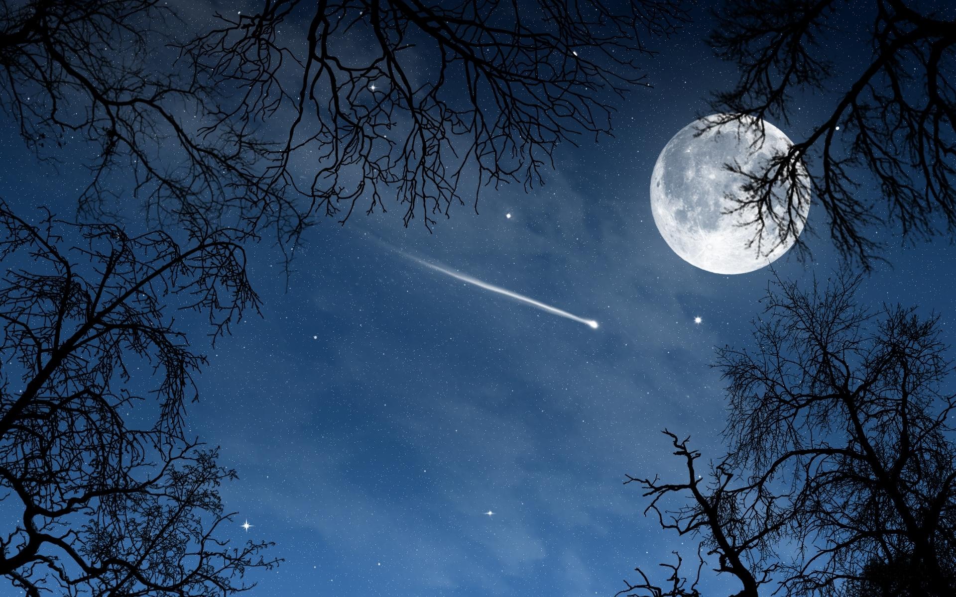 40693 免費下載壁紙 景观, 夜, 月球 屏保和圖片