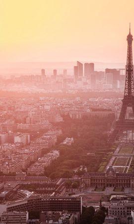 89334 baixar papel de parede Cidade, Paris, França, Madrugada, Manhã, Visualizar, Vista, Névoa, Nevoeiro, Cidades, Torre Eiffel - protetores de tela e imagens gratuitamente
