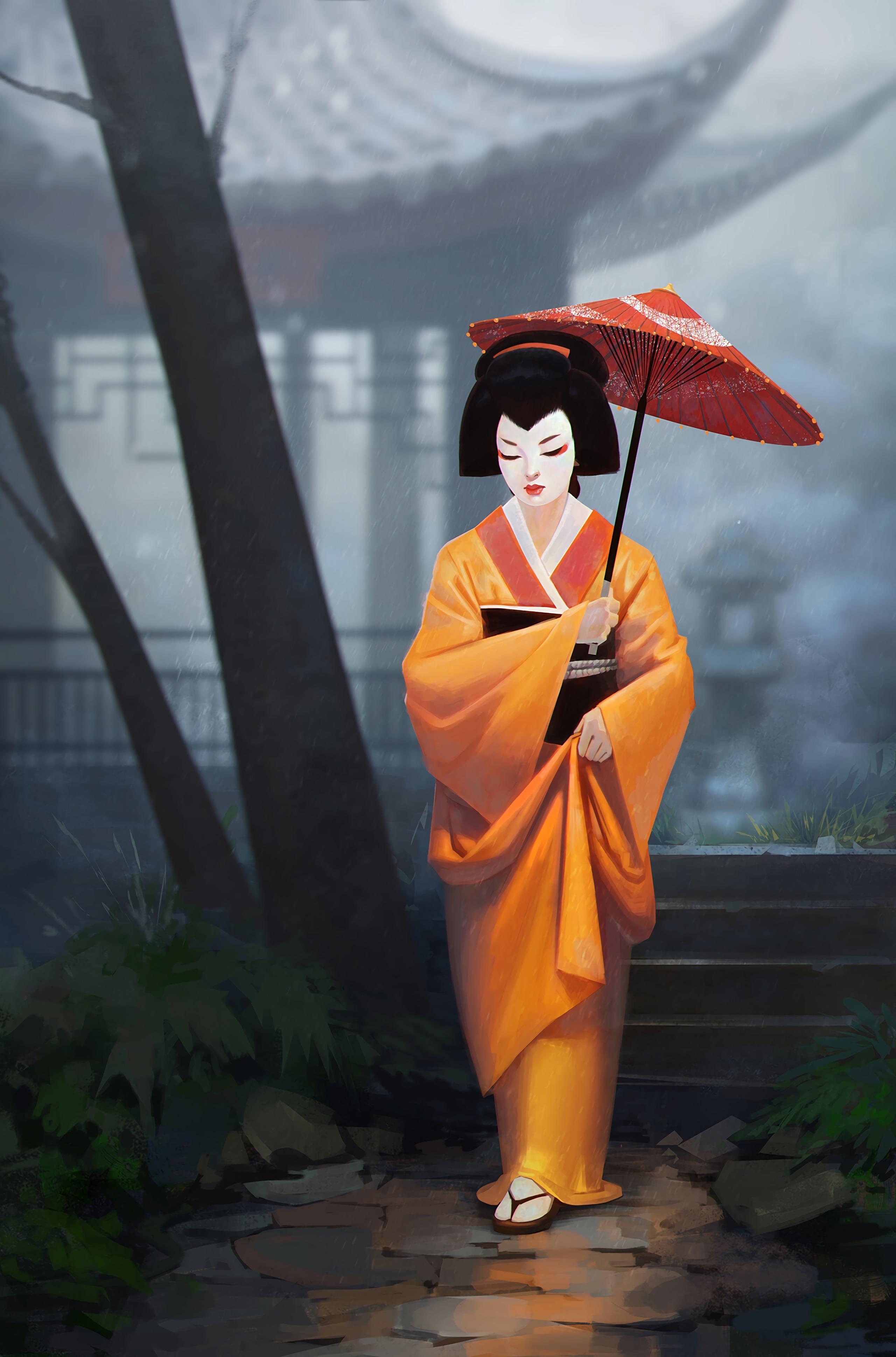 156201 fond d'écran 720x1560 sur votre téléphone gratuitement, téléchargez des images Kimono, Art, Fille, Parapluie, Geisha 720x1560 sur votre mobile