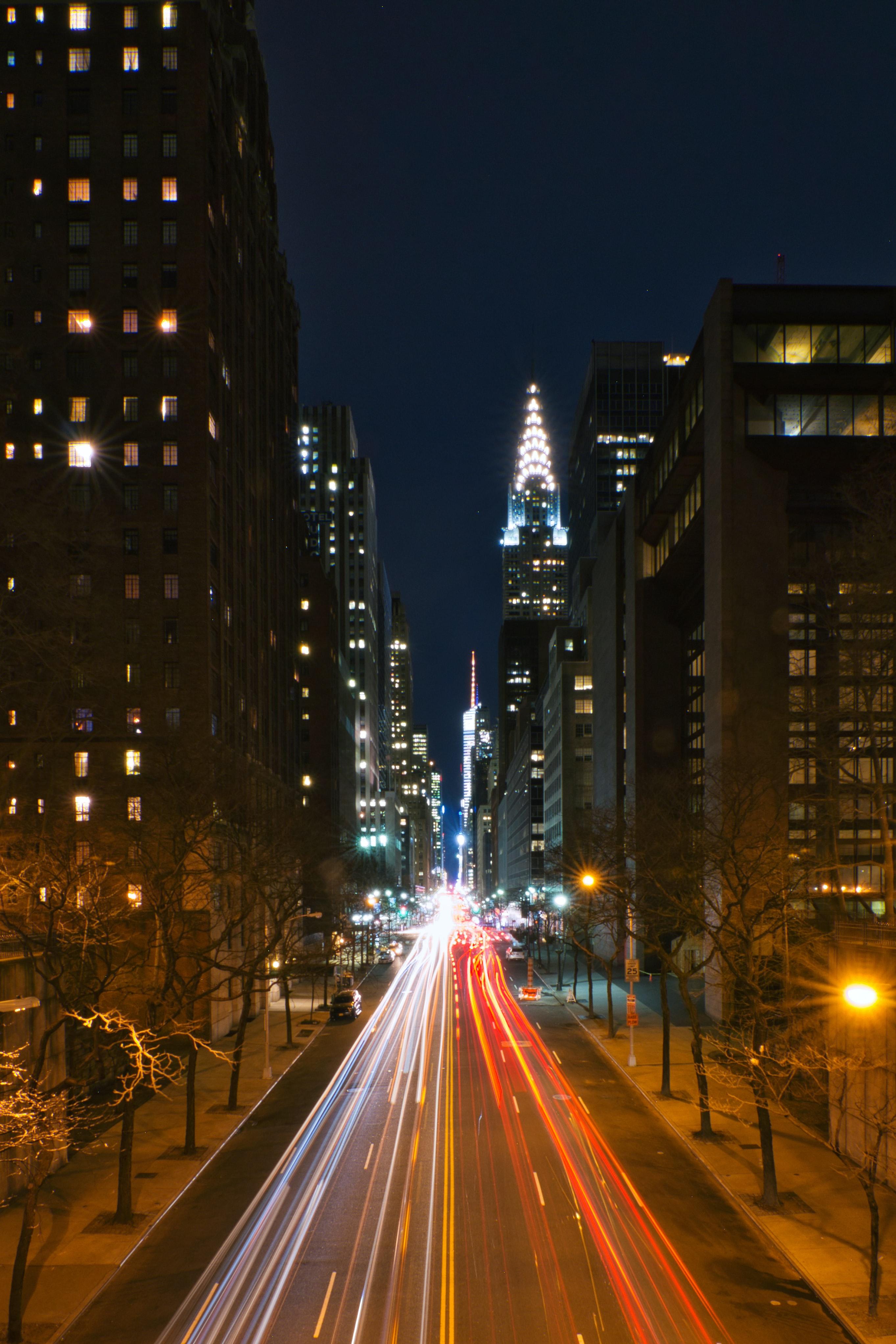 112363 скачать обои Города, Улицы, Дорога, Линии, Длинная Выдержка, Ночной Город - заставки и картинки бесплатно