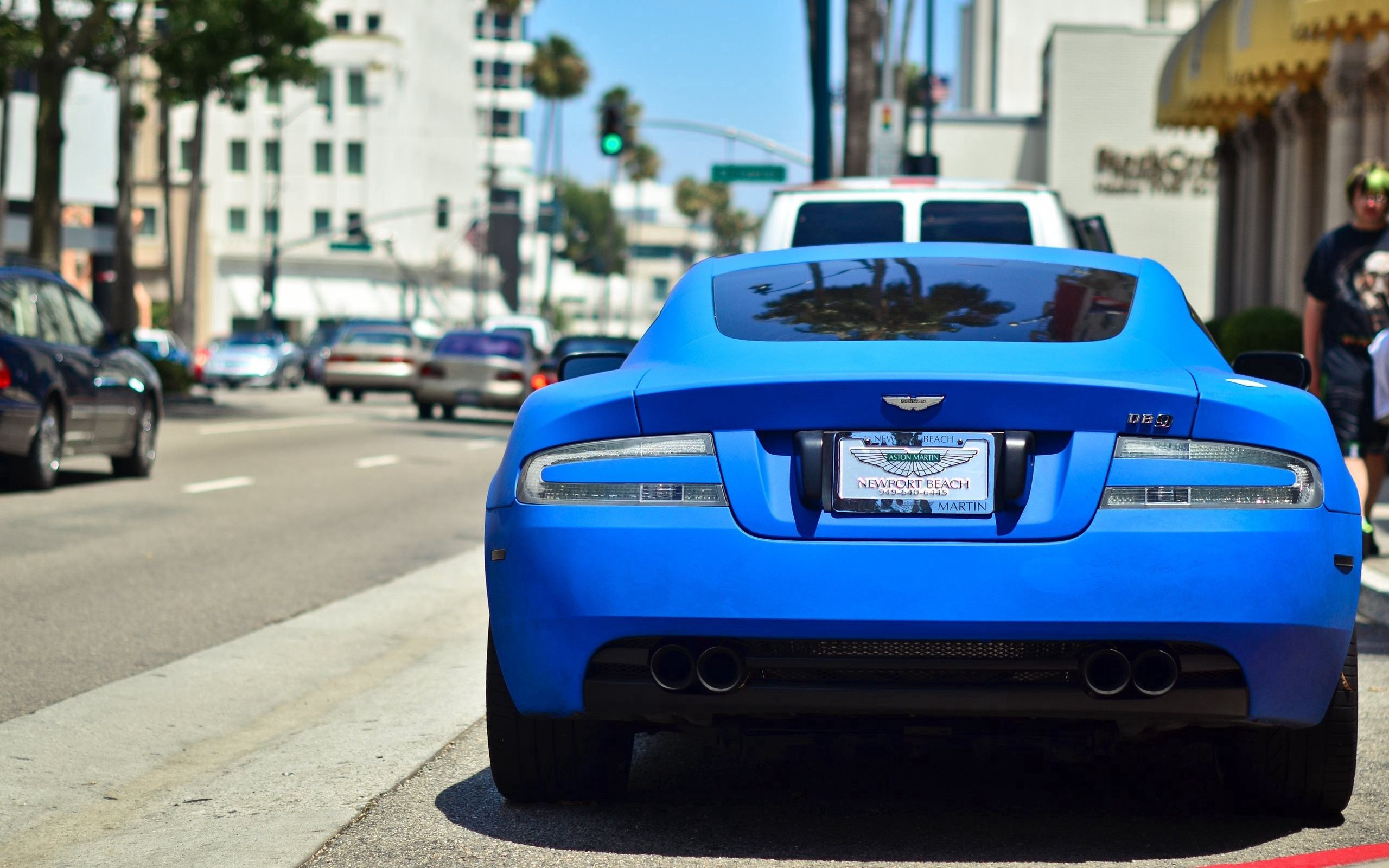 138368 download wallpaper Cars, Aston Martin, Auto, Back View, Rear View screensavers and pictures for free