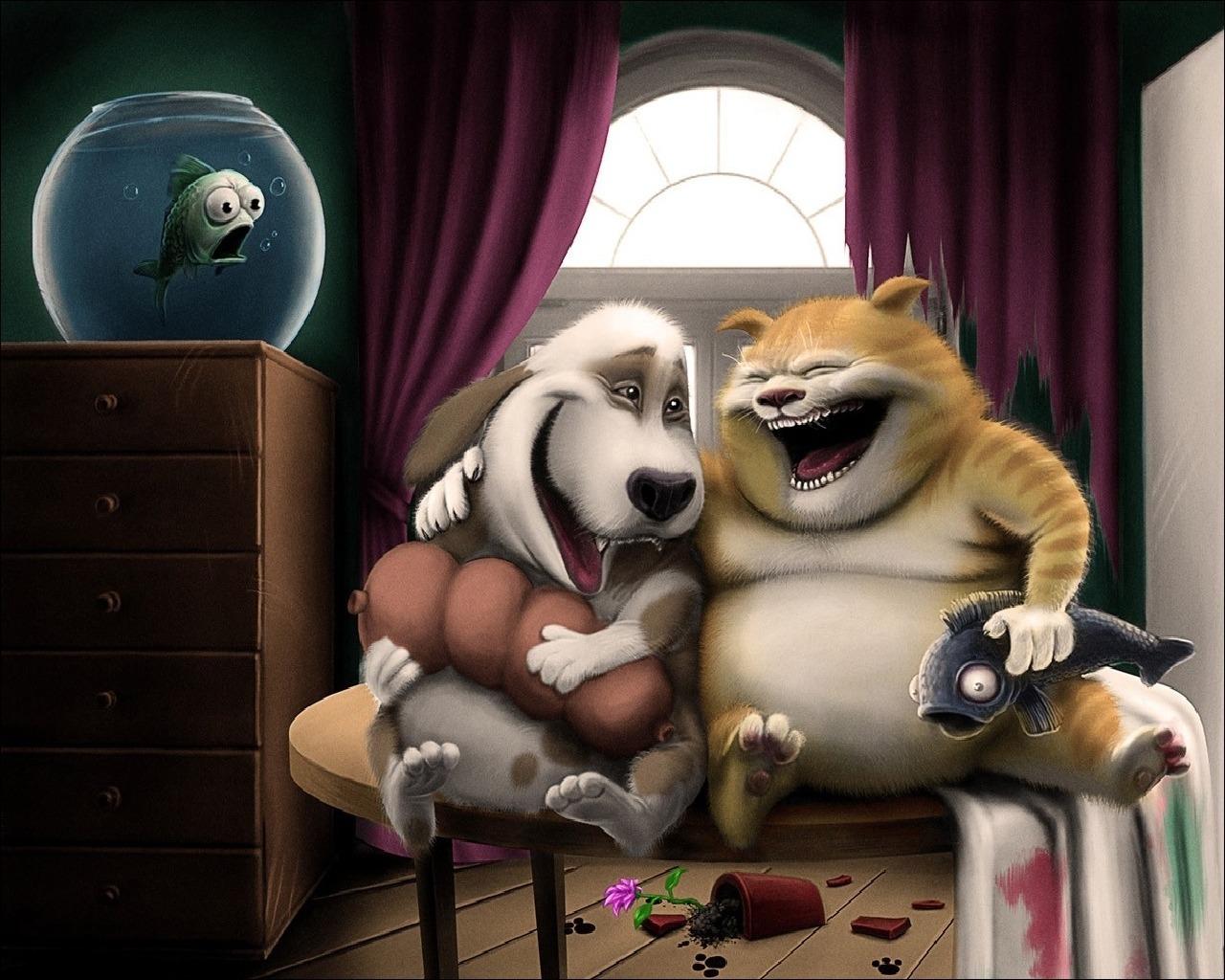 17033 скачать обои Юмор, Кошки (Коты, Котики), Собаки, Рисунки - заставки и картинки бесплатно